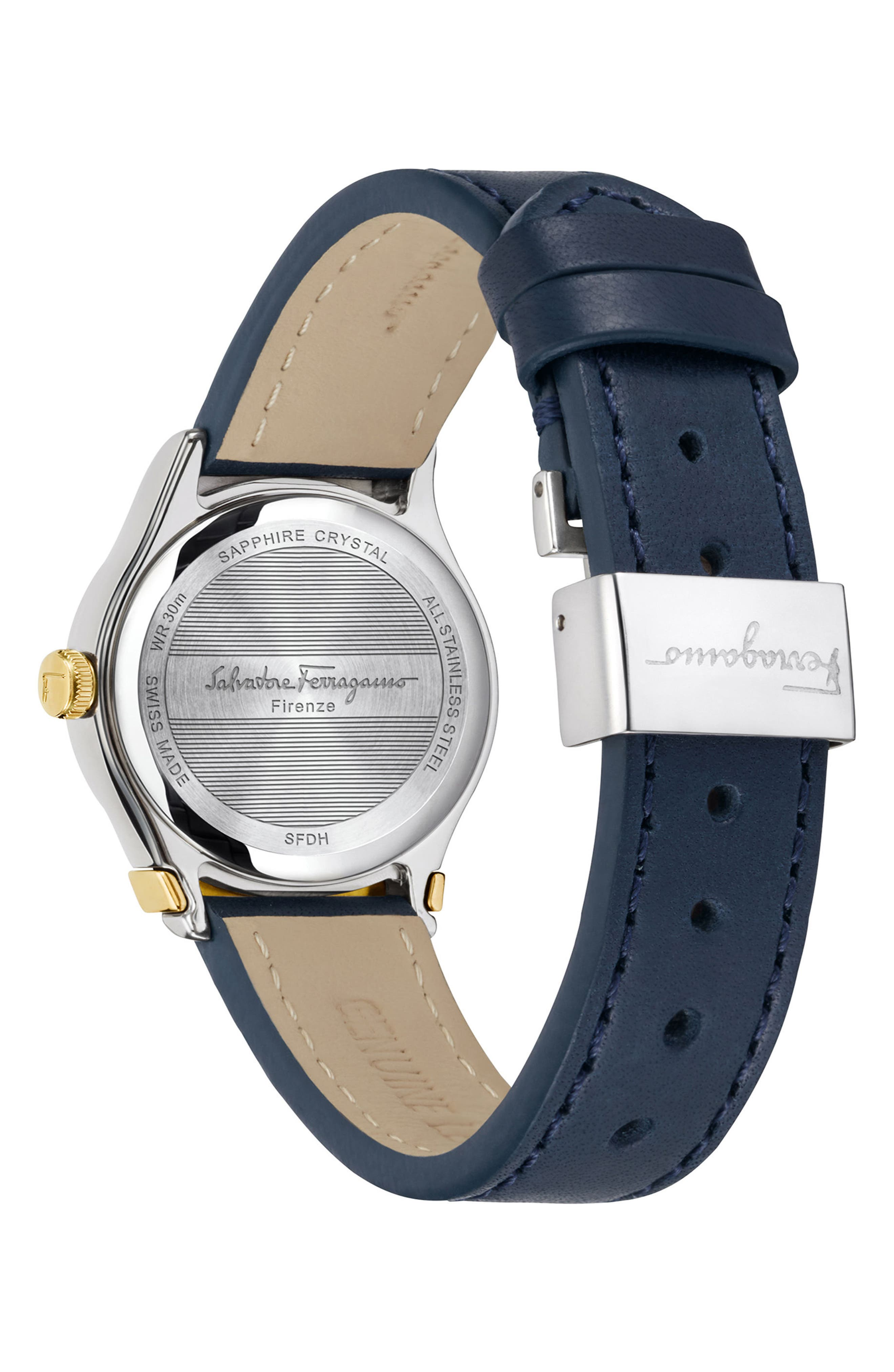 1898 Leather Strap Watch, 28mm,                             Alternate thumbnail 4, color,                             Blue/ Silver/ Gold