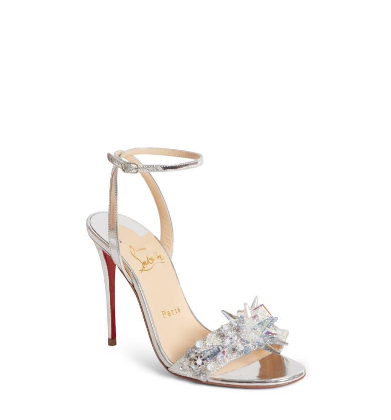 19eb05bda Christian Louboutin Oxydock 100 Metallic Crystal Sandals In Version Silver