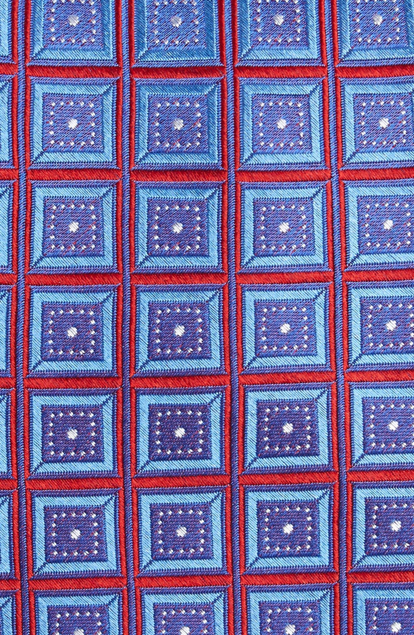 Sublime Squares Geometric Silk Tie,                             Alternate thumbnail 2, color,                             Red Marina