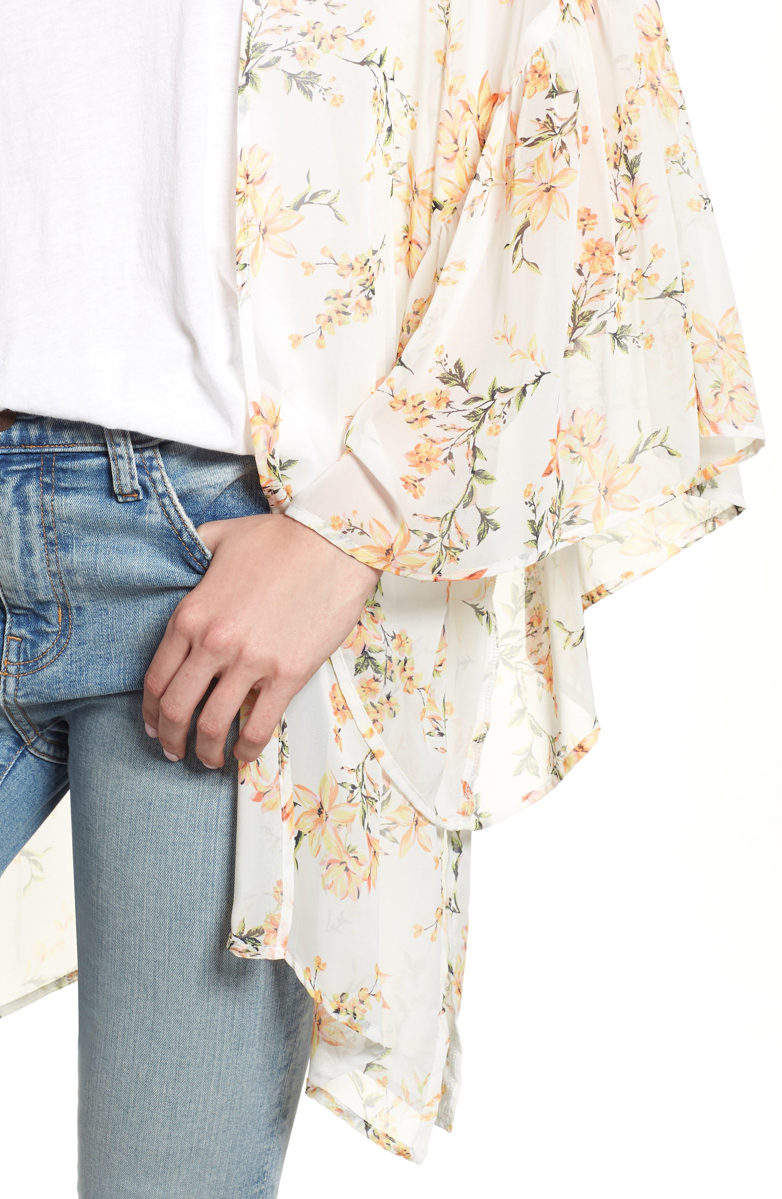 Floral Print Ruffle Sleeve Kimono,                             Alternate thumbnail 4, color,                             Yellow Combo