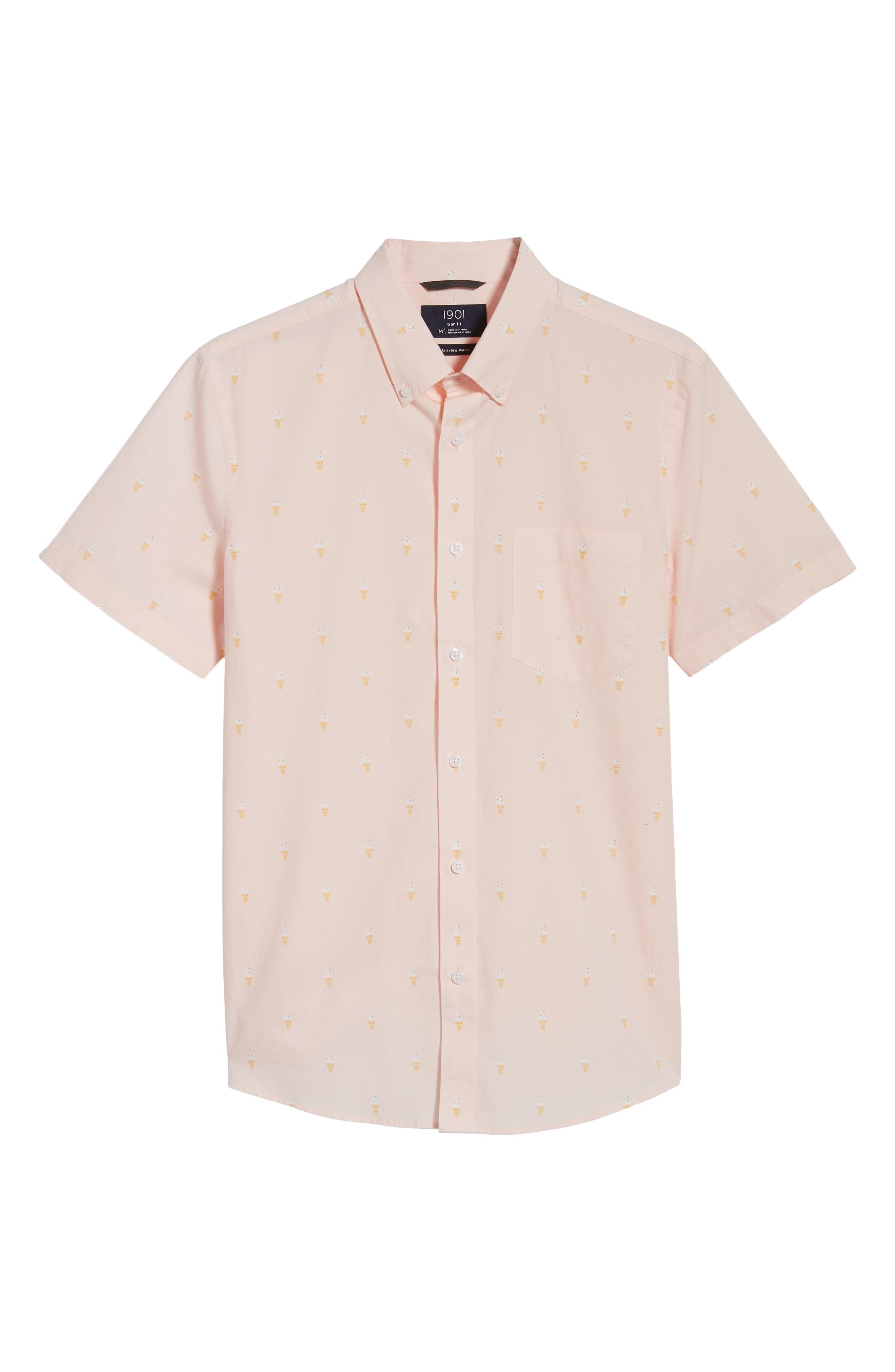 Trim Fit Print Short Sleeve Sport Shirt,                             Alternate thumbnail 6, color,                             Pink Breathe Ice Cream Cones