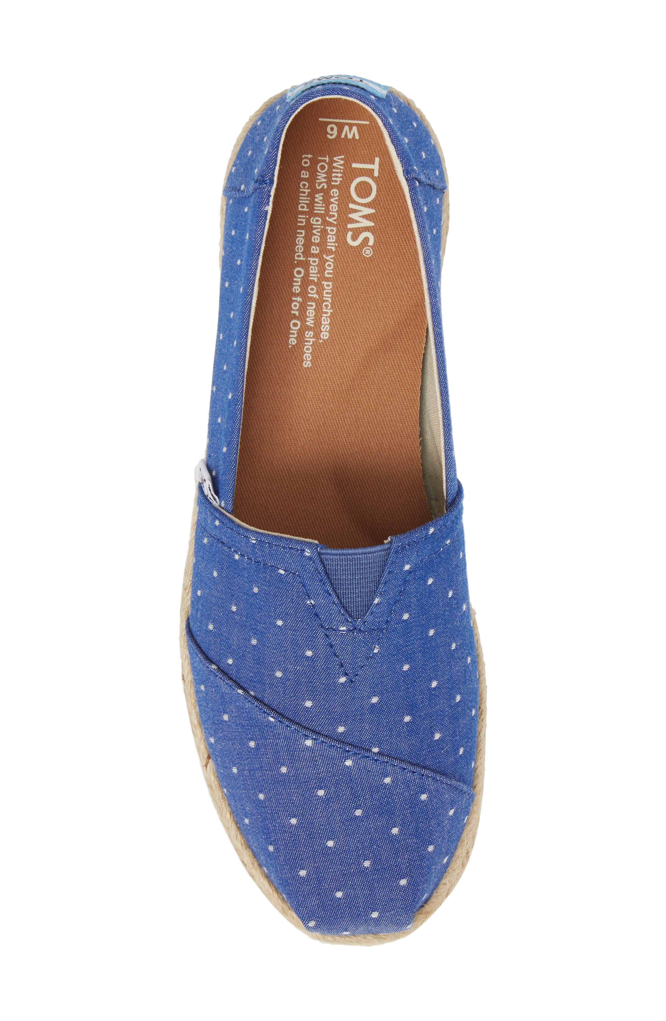Deconstructed Alpargata Slip-On,                             Alternate thumbnail 5, color,                             Blue Dot Fabric