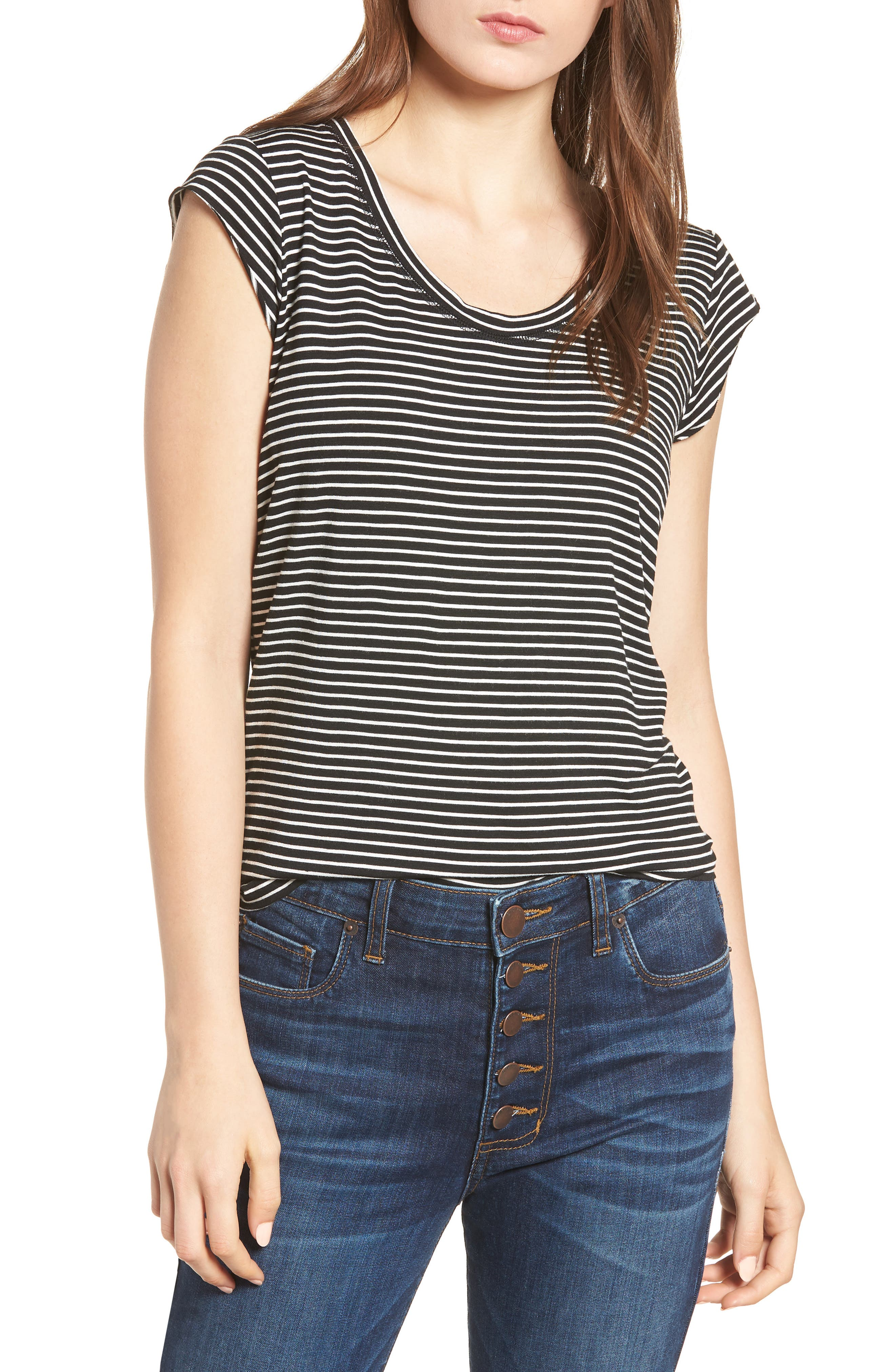 Alta Shadow Stripe Tee,                         Main,                         color, Black/ Ivory
