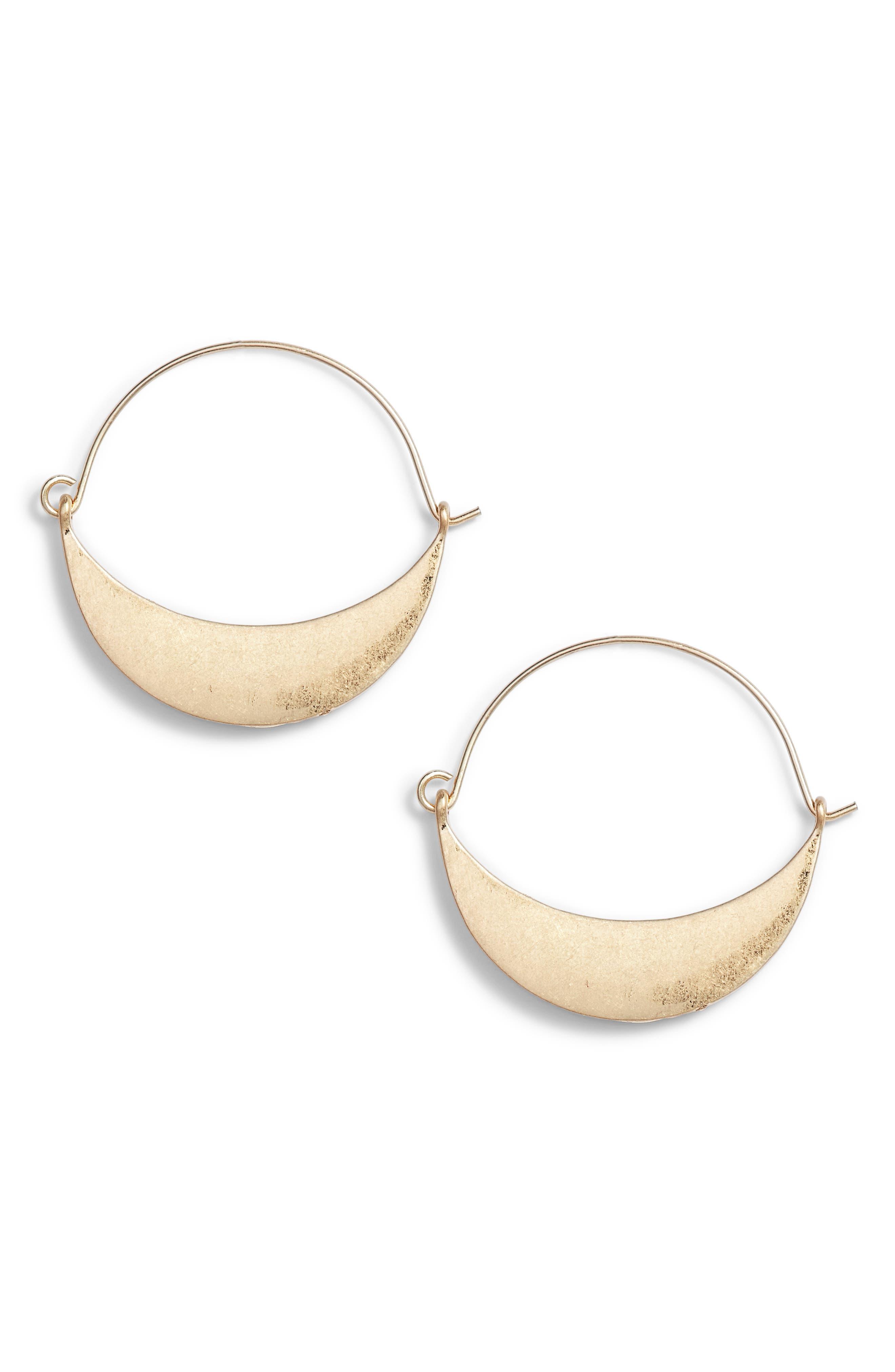 Crescent Metal Hoop Earrings,                             Main thumbnail 1, color,                             Gold