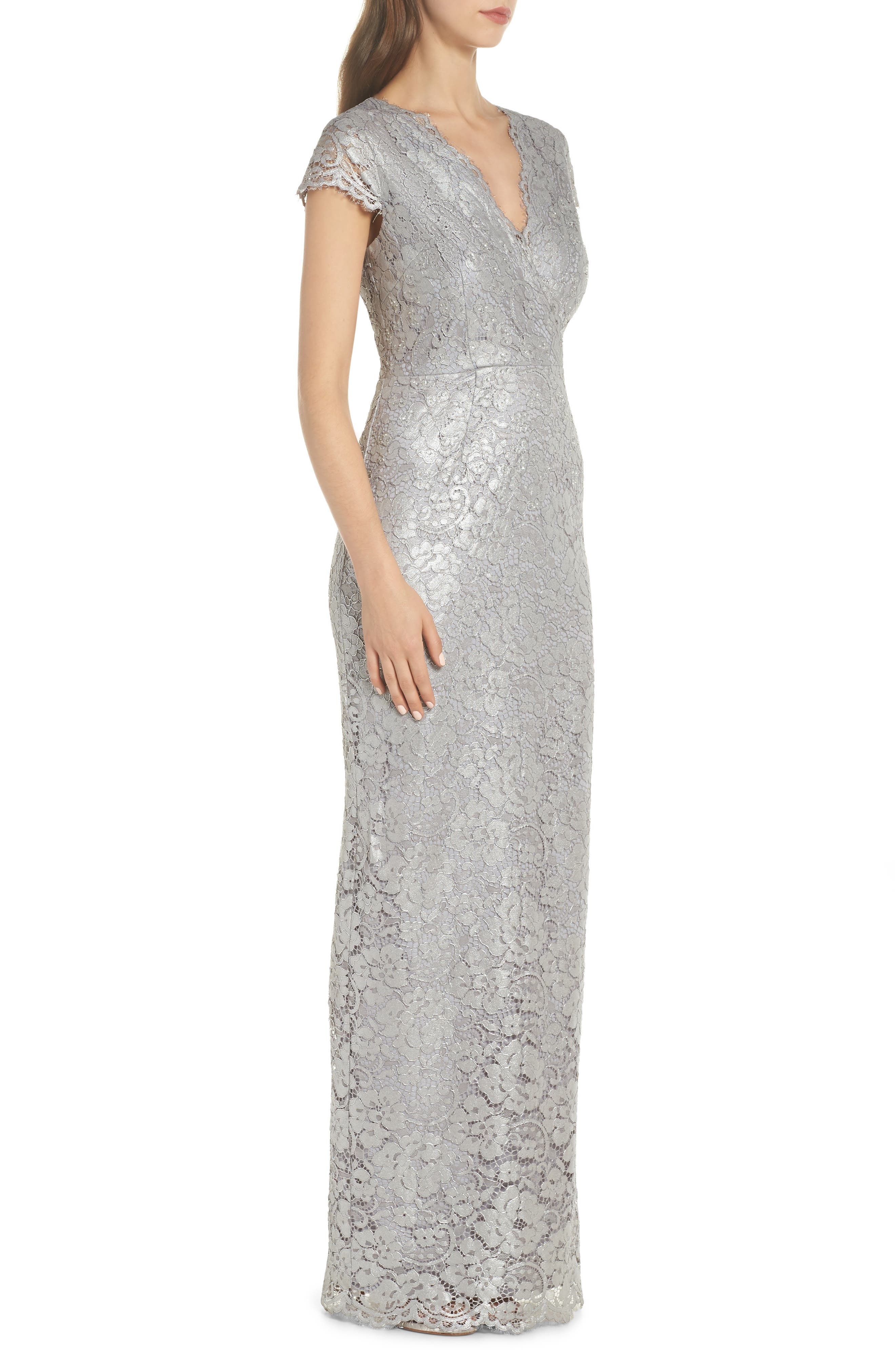 Metallic Lace Gown,                             Alternate thumbnail 3, color,                             Quartz