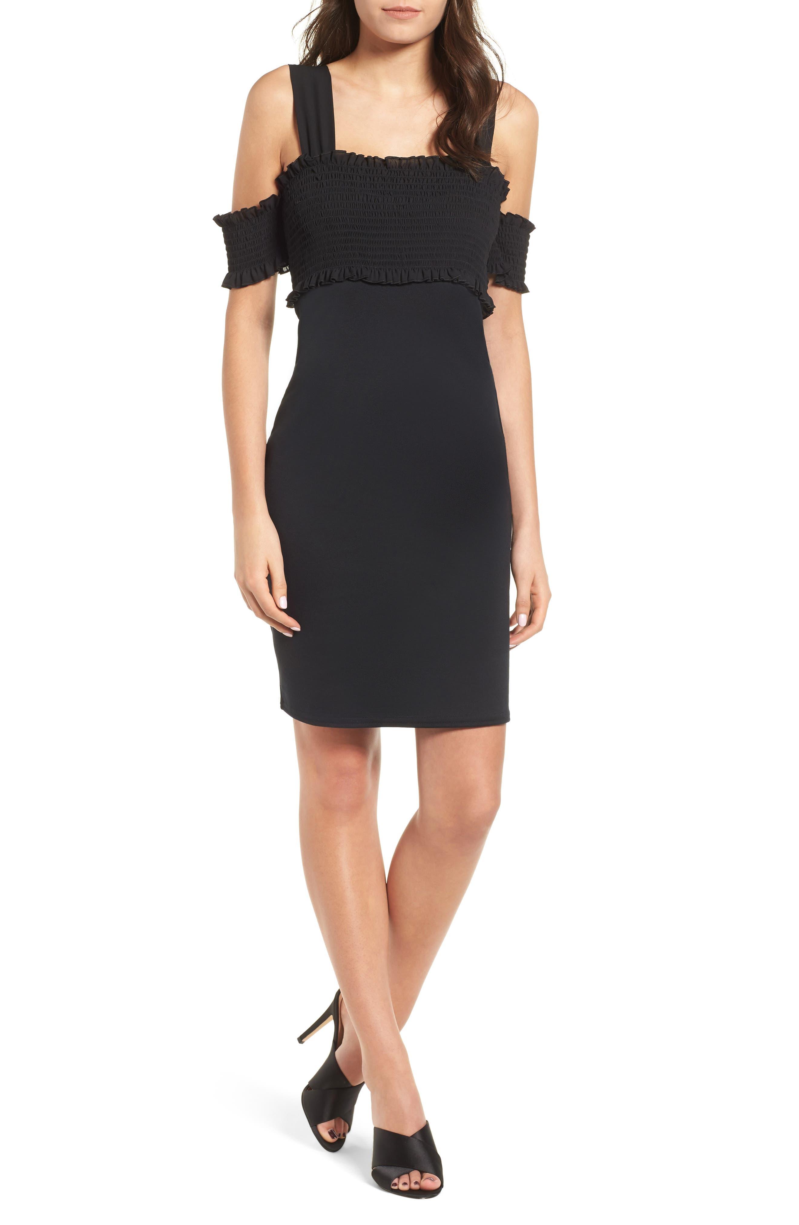 Smocked Body-Con Dress,                         Main,                         color, Black