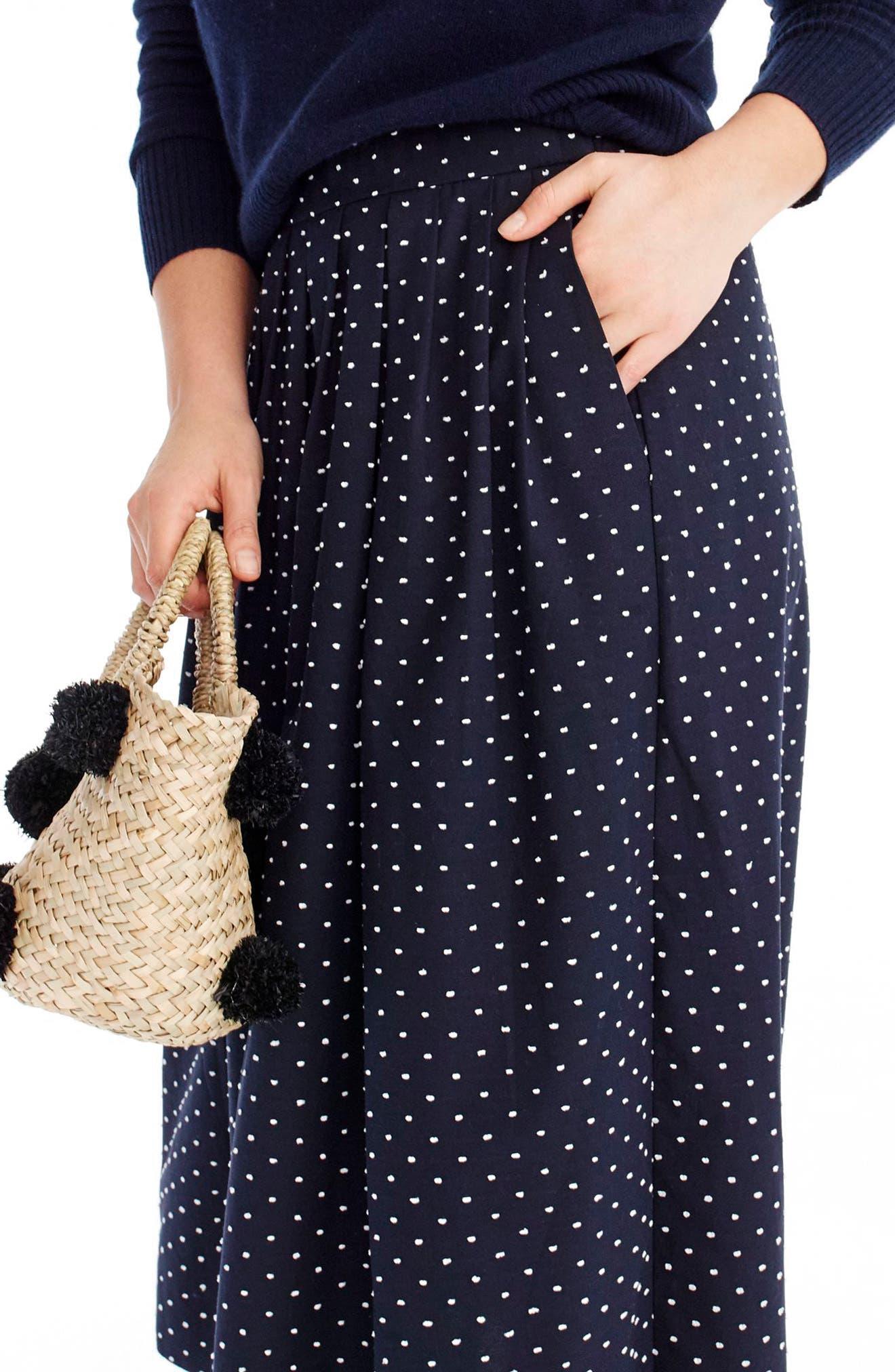 Vintage Clip Dot Midi Skirt,                             Alternate thumbnail 3, color,                             Navy White