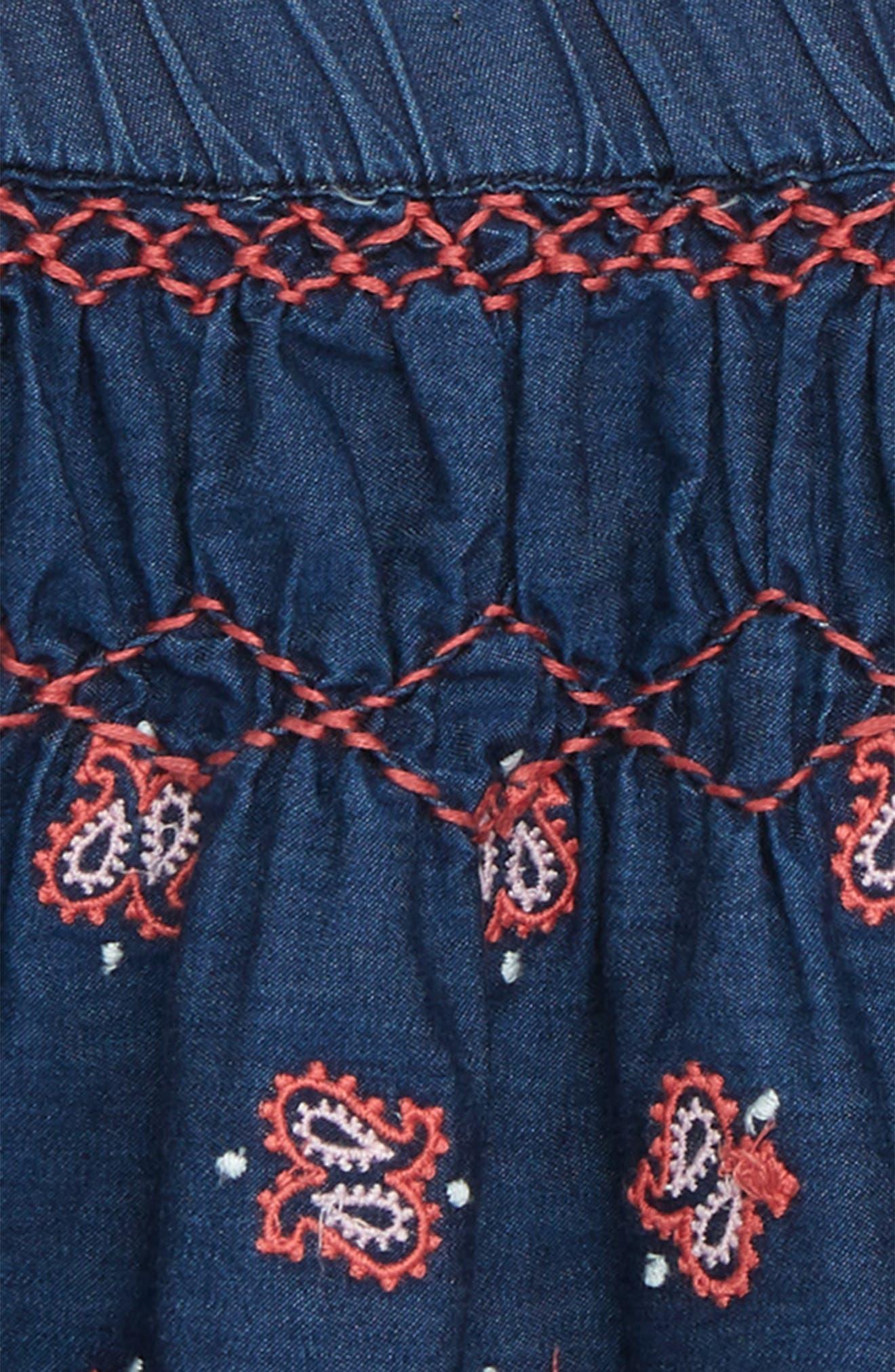 Grace Embroidered Denim Skirt,                             Alternate thumbnail 2, color,                             Indigo