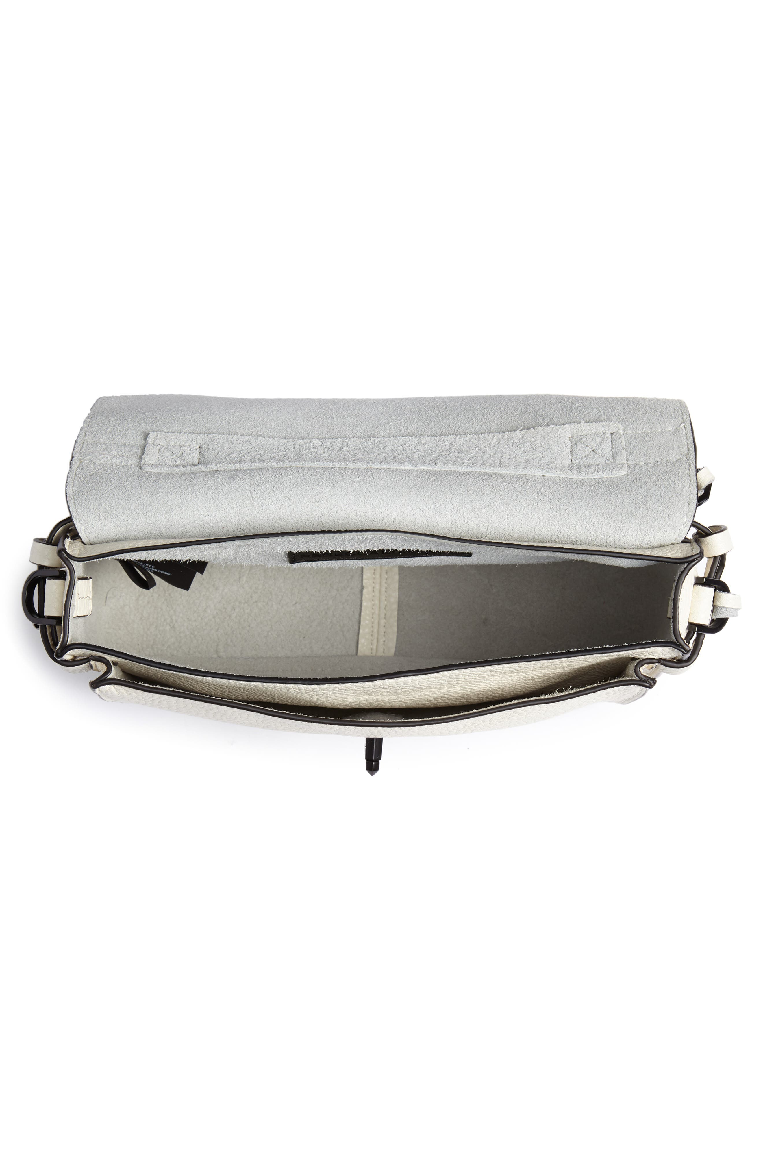 'Small Darren' Leather Messenger Bag,                             Alternate thumbnail 4, color,                             Antique White