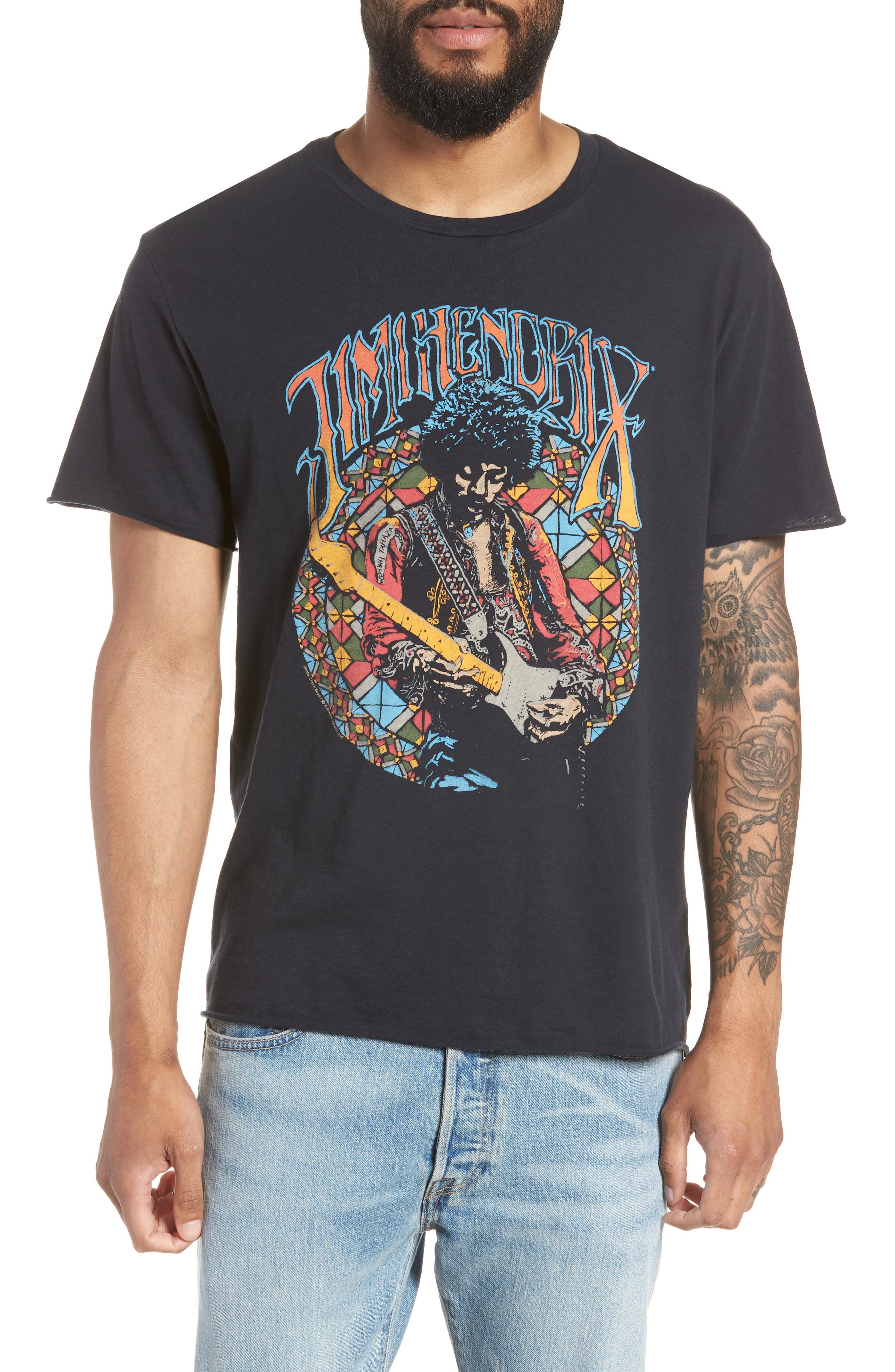 Jimi Hendrix Trim Fit T-Shirt,                         Main,                         color, Black Rock Hendrix