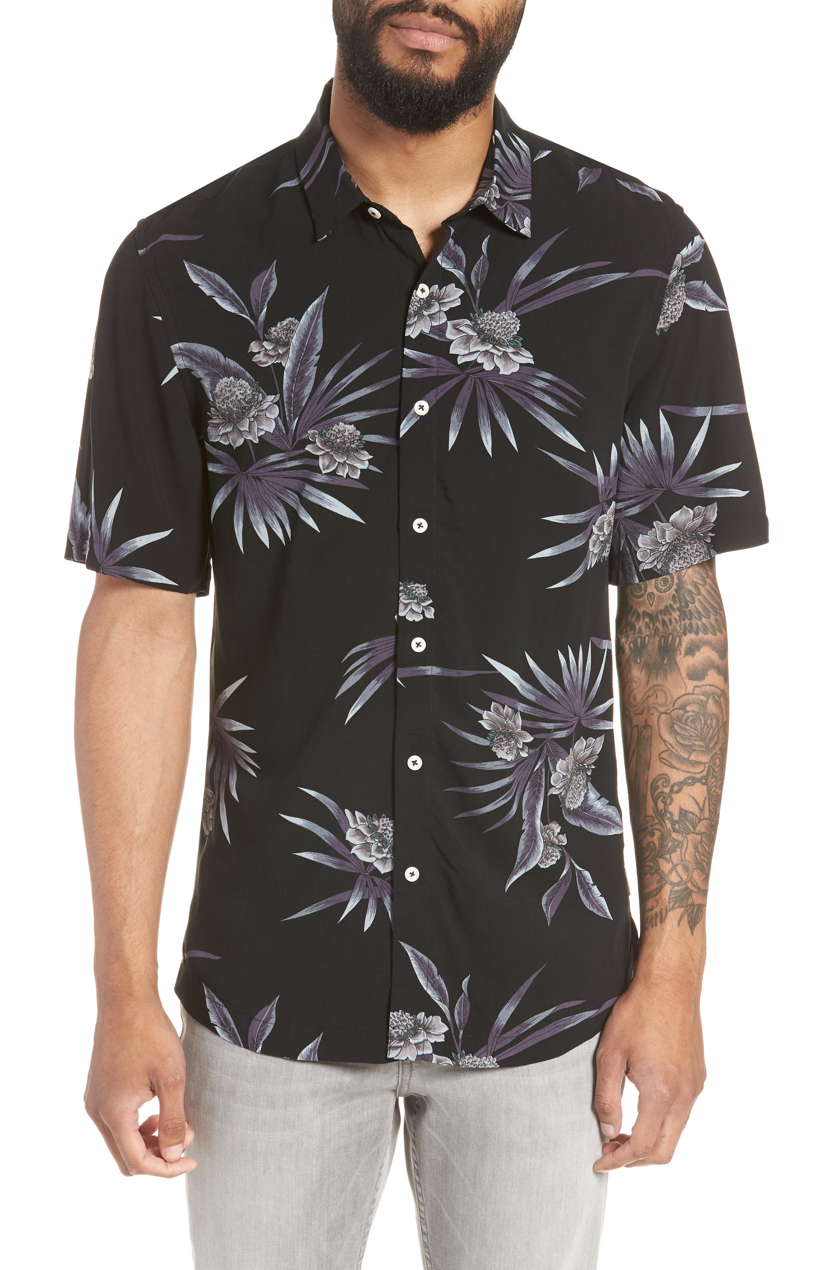 There After Trim Fit Short Sleeve Sport Shirt,                         Main,                         color, Midnight