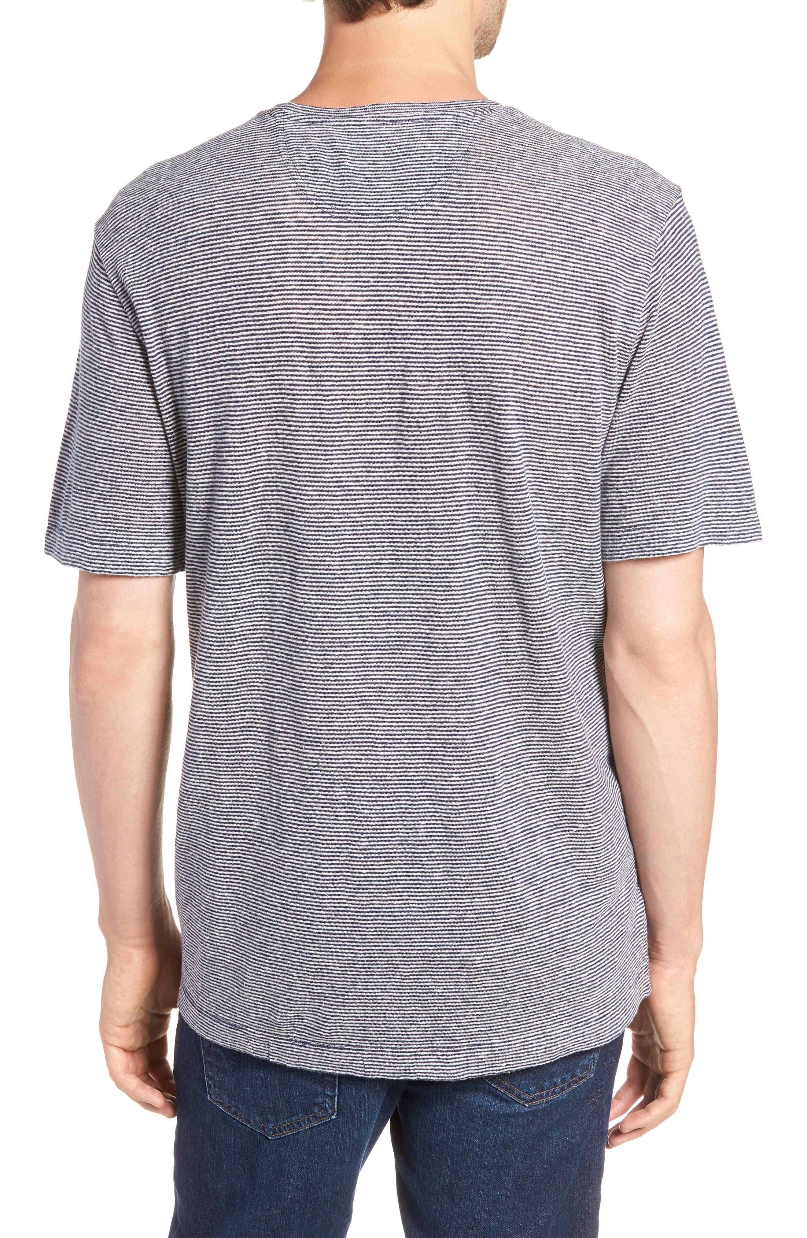 Feeder Stripe Linen Blend Jersey T-Shirt,                             Alternate thumbnail 2, color,                             Navy Iris White Stripe