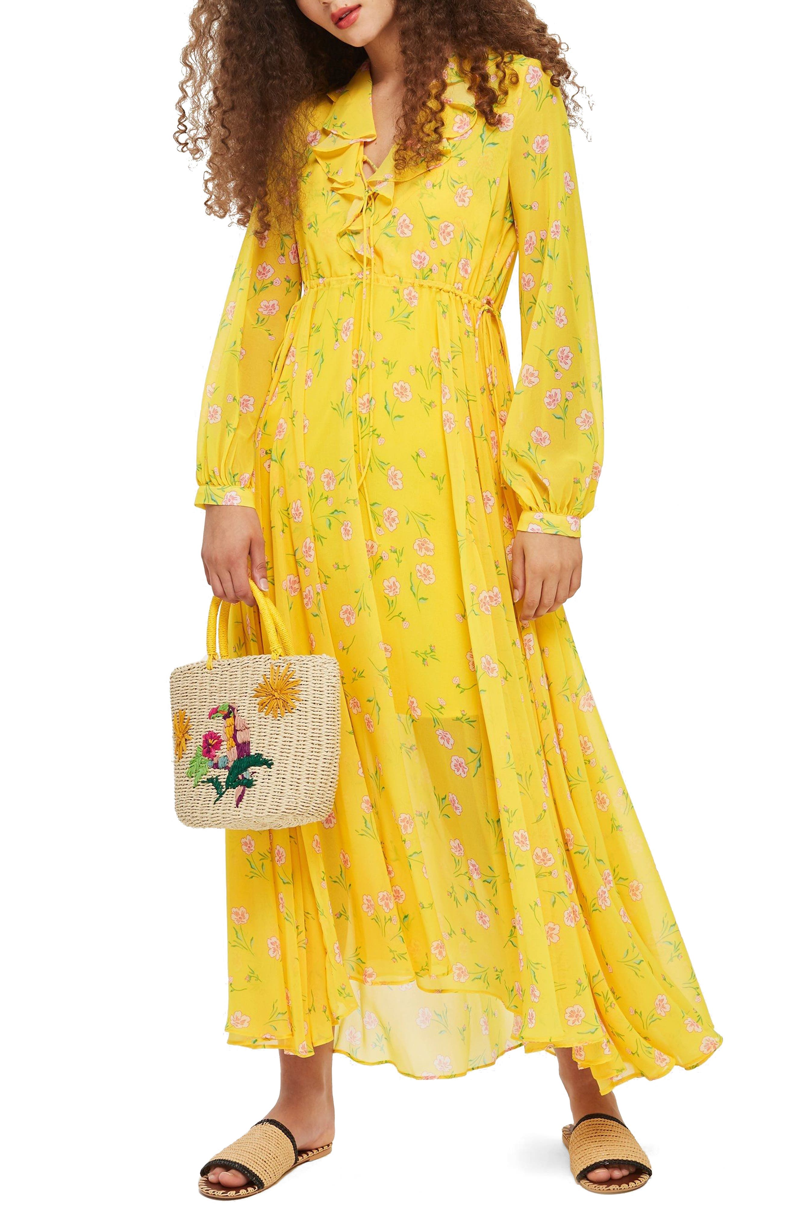 Margot Floral Maxi Dress,                         Main,                         color, Yellow Multi