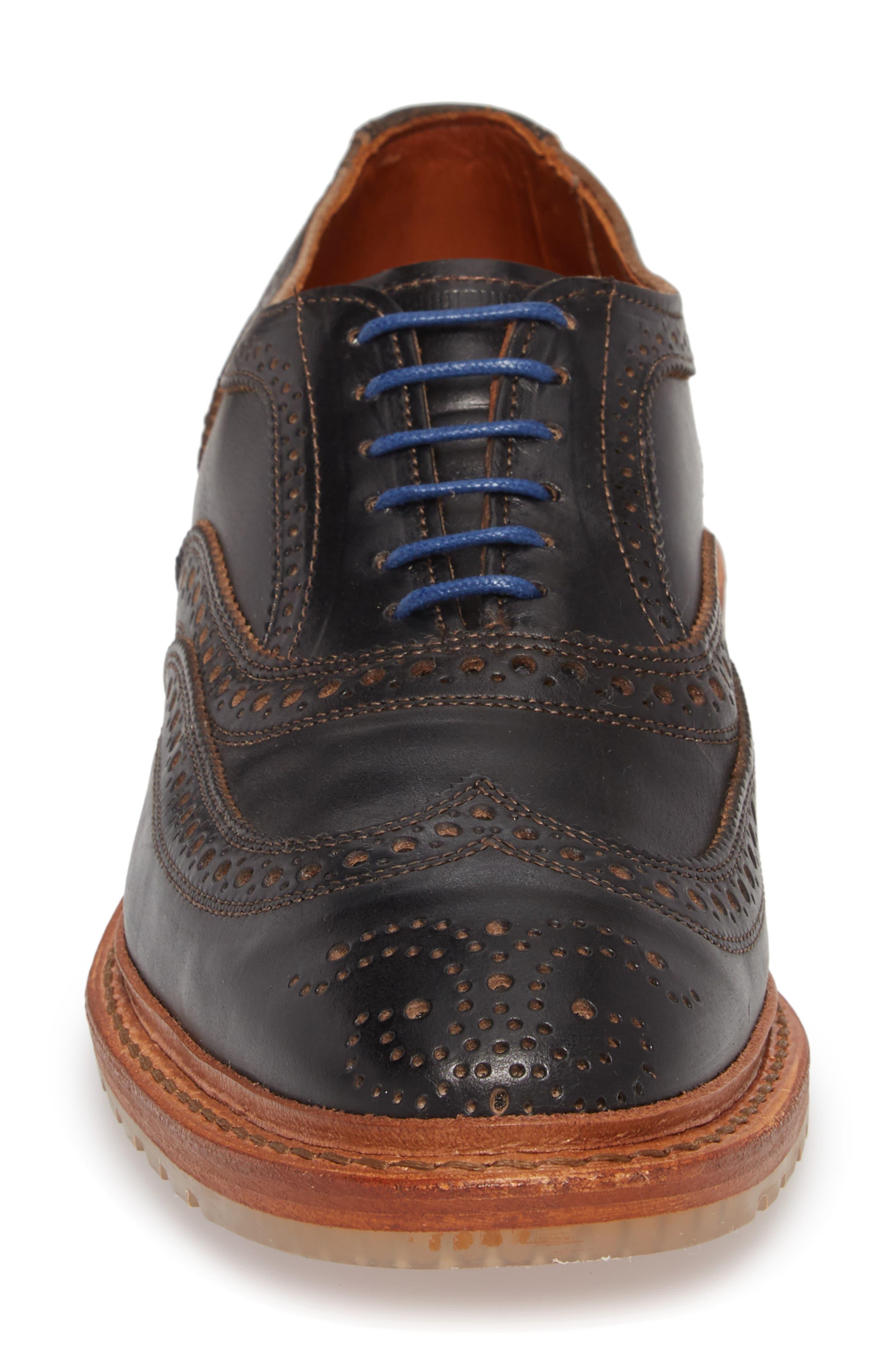 McTavish Lugged Wingtip,                             Alternate thumbnail 4, color,                             Black Leather