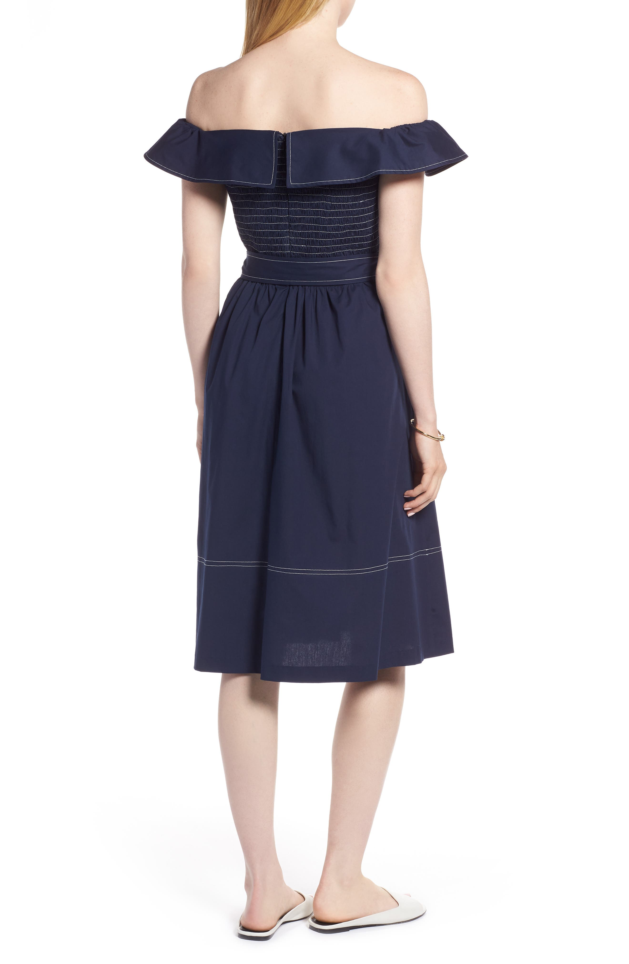 Off the Shoulder Contrast Stitch Dress,                             Alternate thumbnail 2, color,                             Navy Sapphire