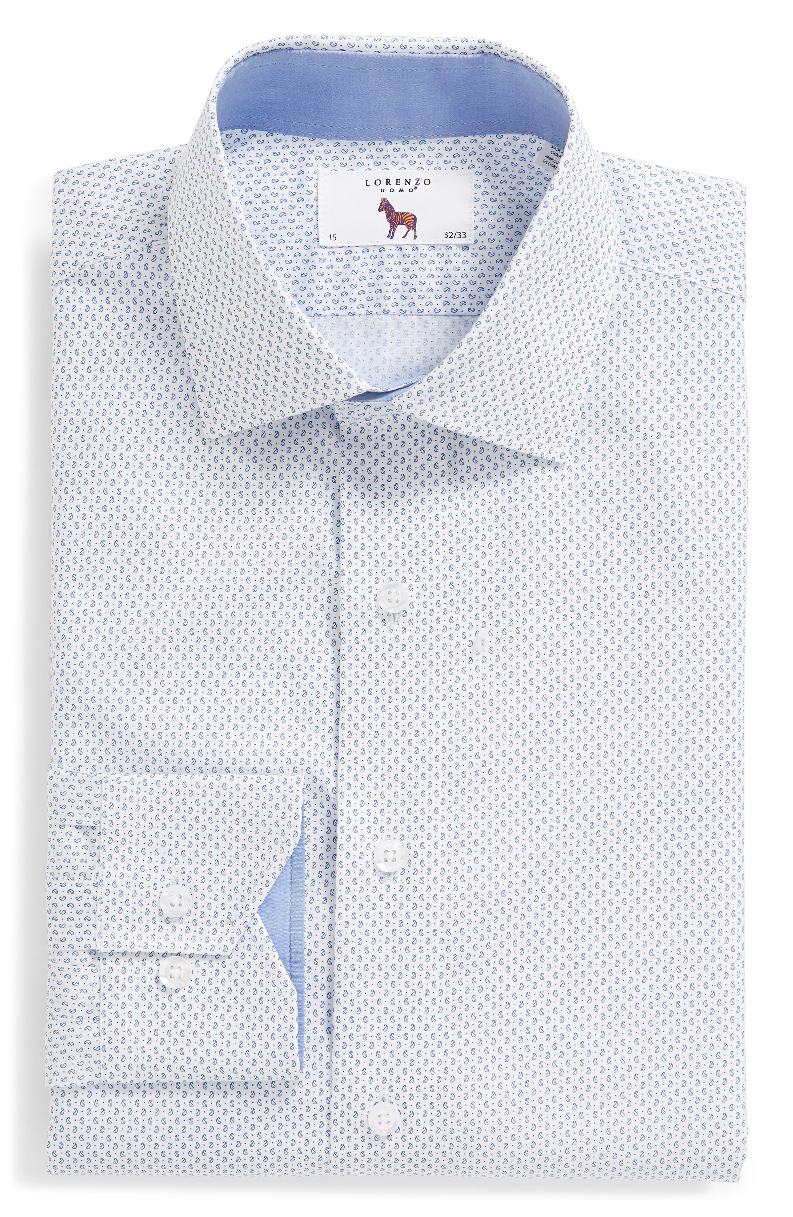 Trim Fit Paisley Dress Shirt,                             Alternate thumbnail 6, color,                             White/ Blue