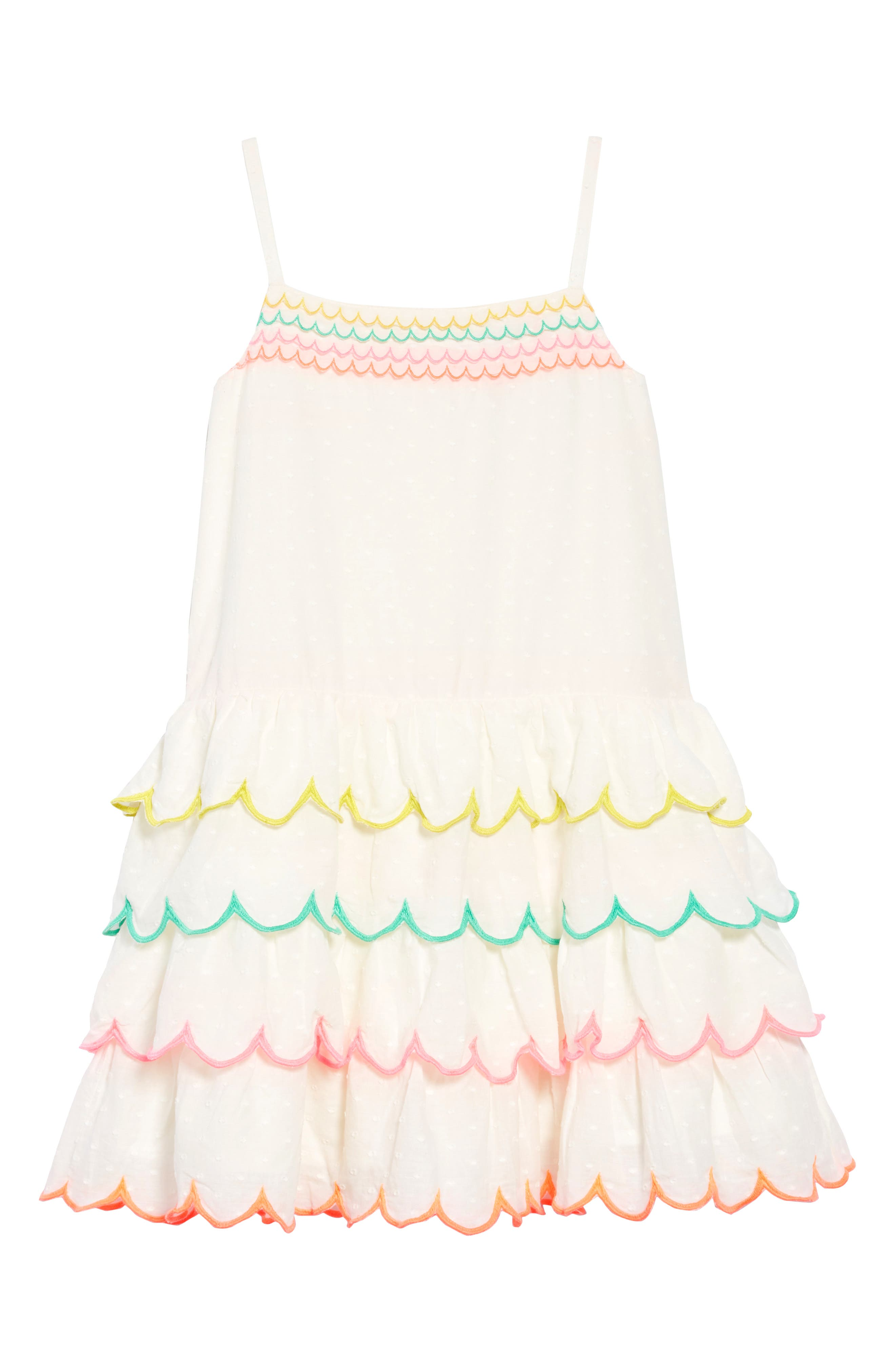 Tiered Scallop Dress,                         Main,                         color, Ivoivory