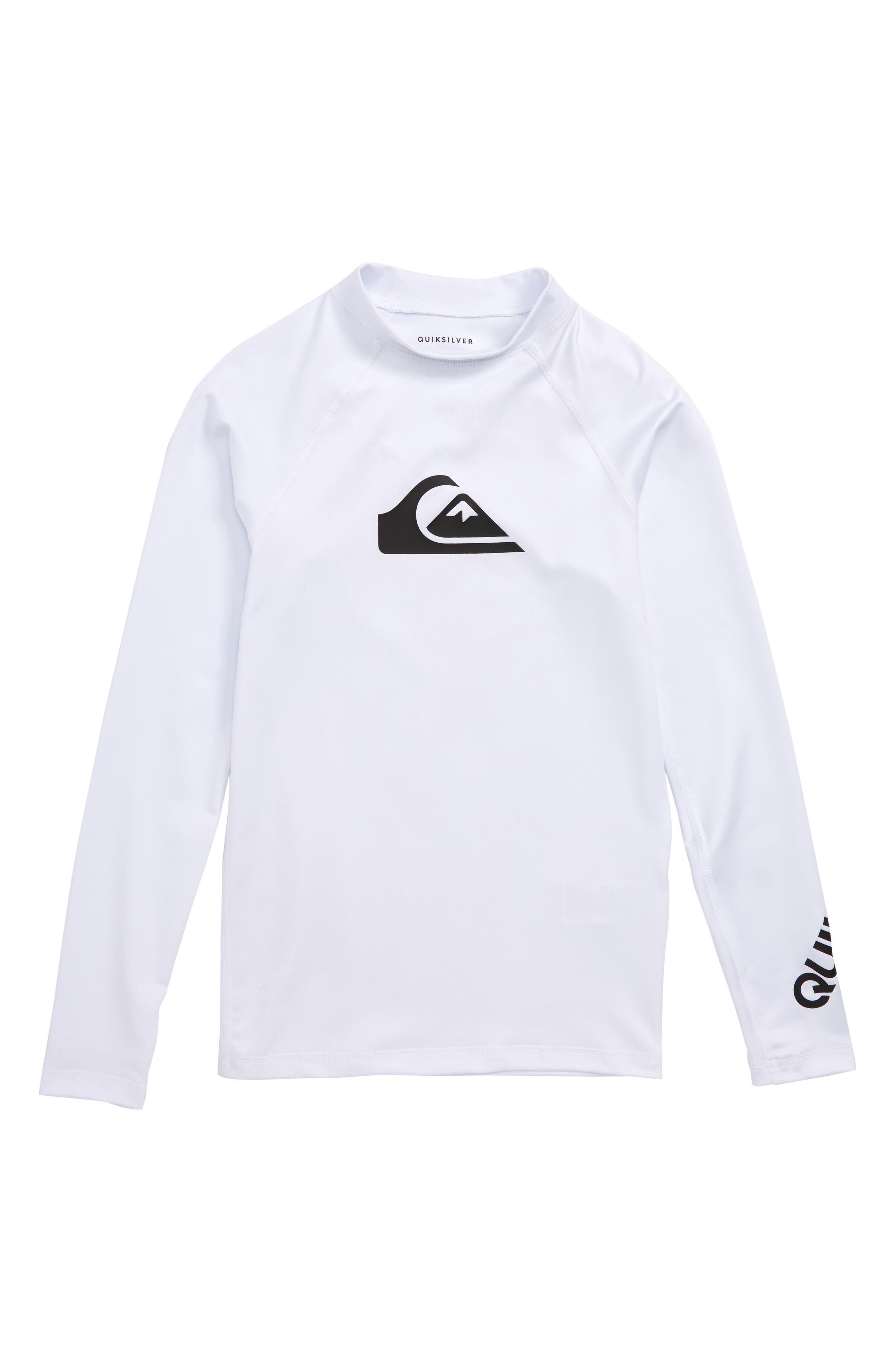 All Time Long Sleeve Rashguard Top,                             Main thumbnail 1, color,                             White