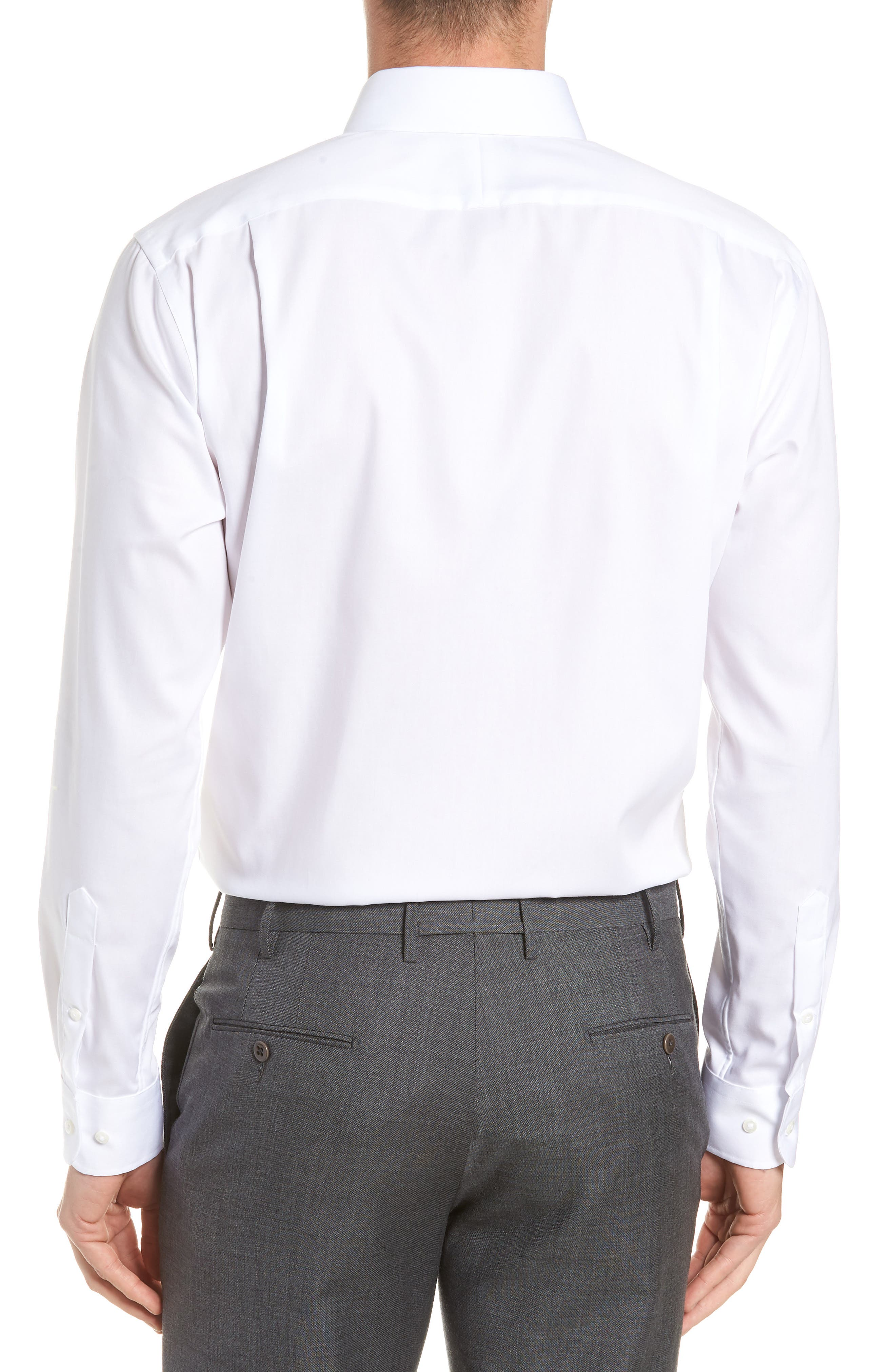 Trim Fit Non-Iron Dress Shirt,                             Alternate thumbnail 3, color,                             White