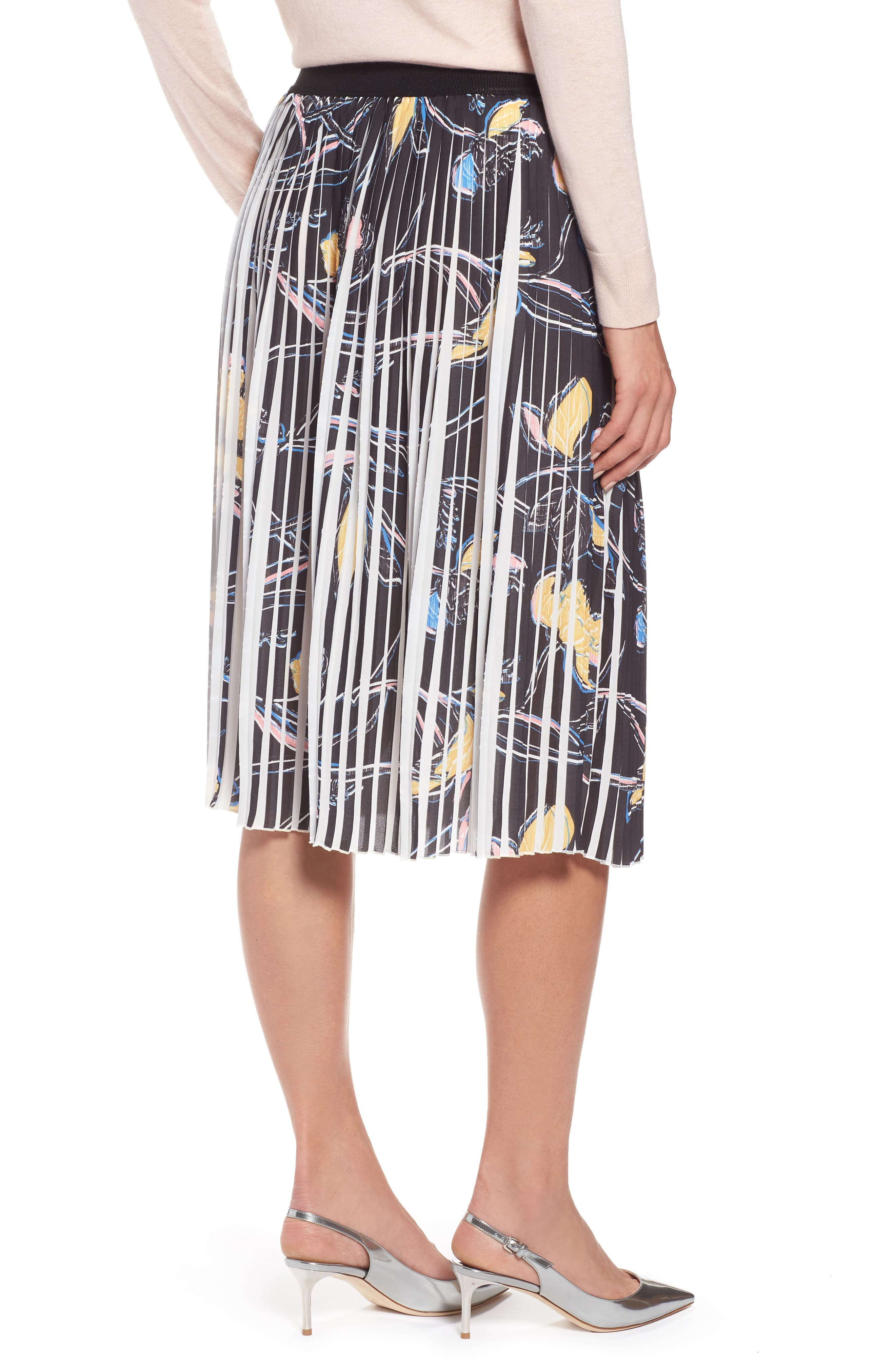 Pleated Print Skirt,                             Alternate thumbnail 2, color,                             Black- Yellow Floral