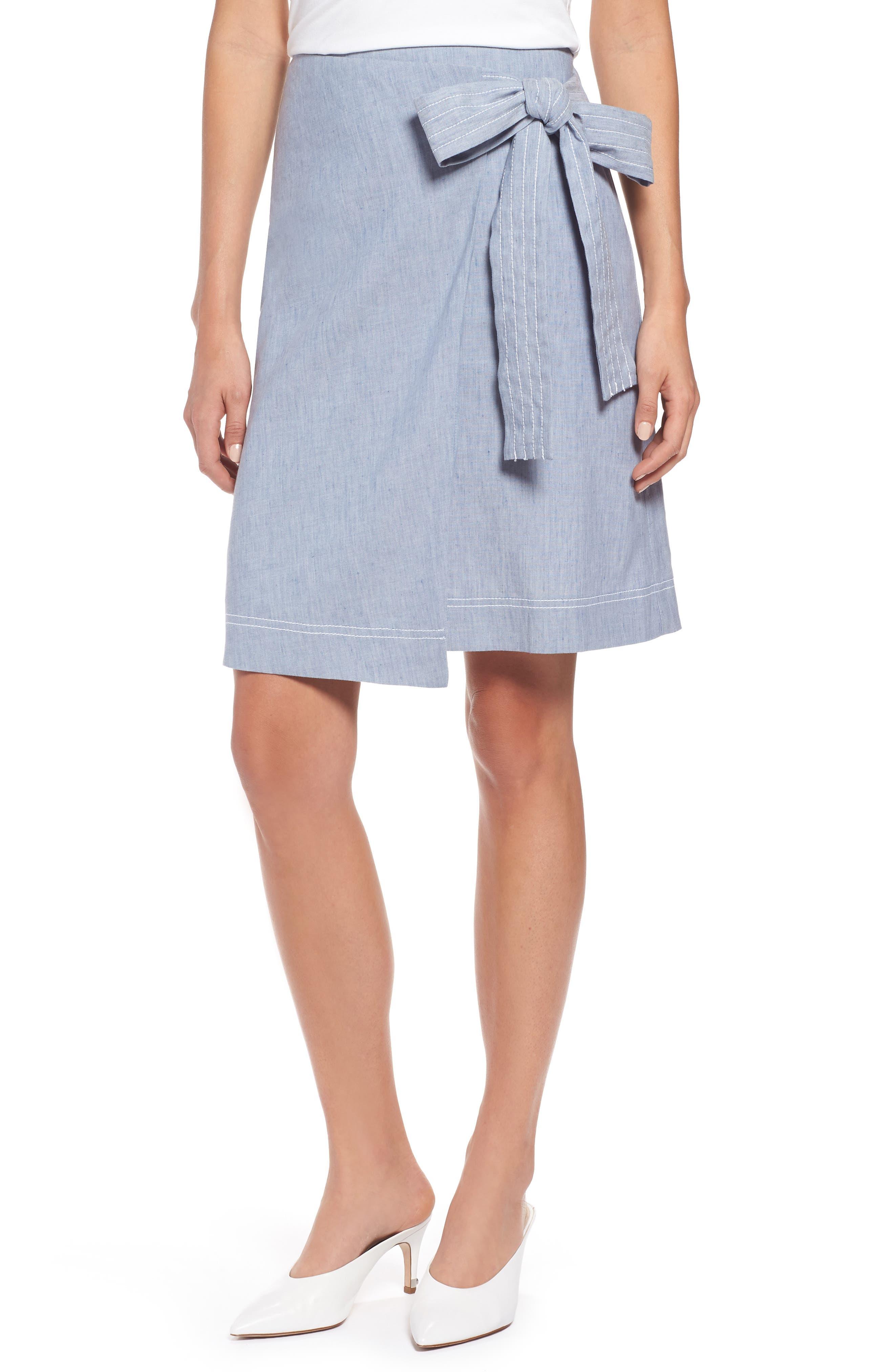 Wrap Style Chambray Linen Blend Miniskirt,                             Main thumbnail 1, color,                             Chambray