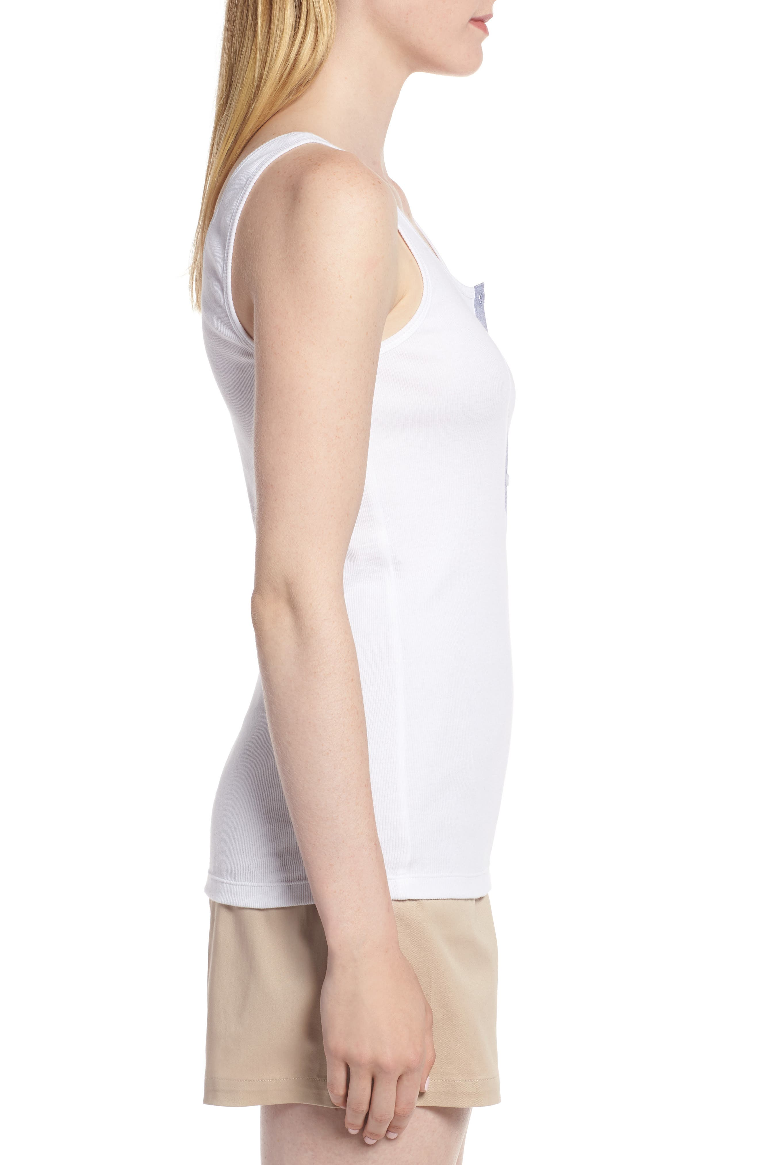 Ribbed Henley Cotton Blend Tank Top,                             Alternate thumbnail 3, color,                             White