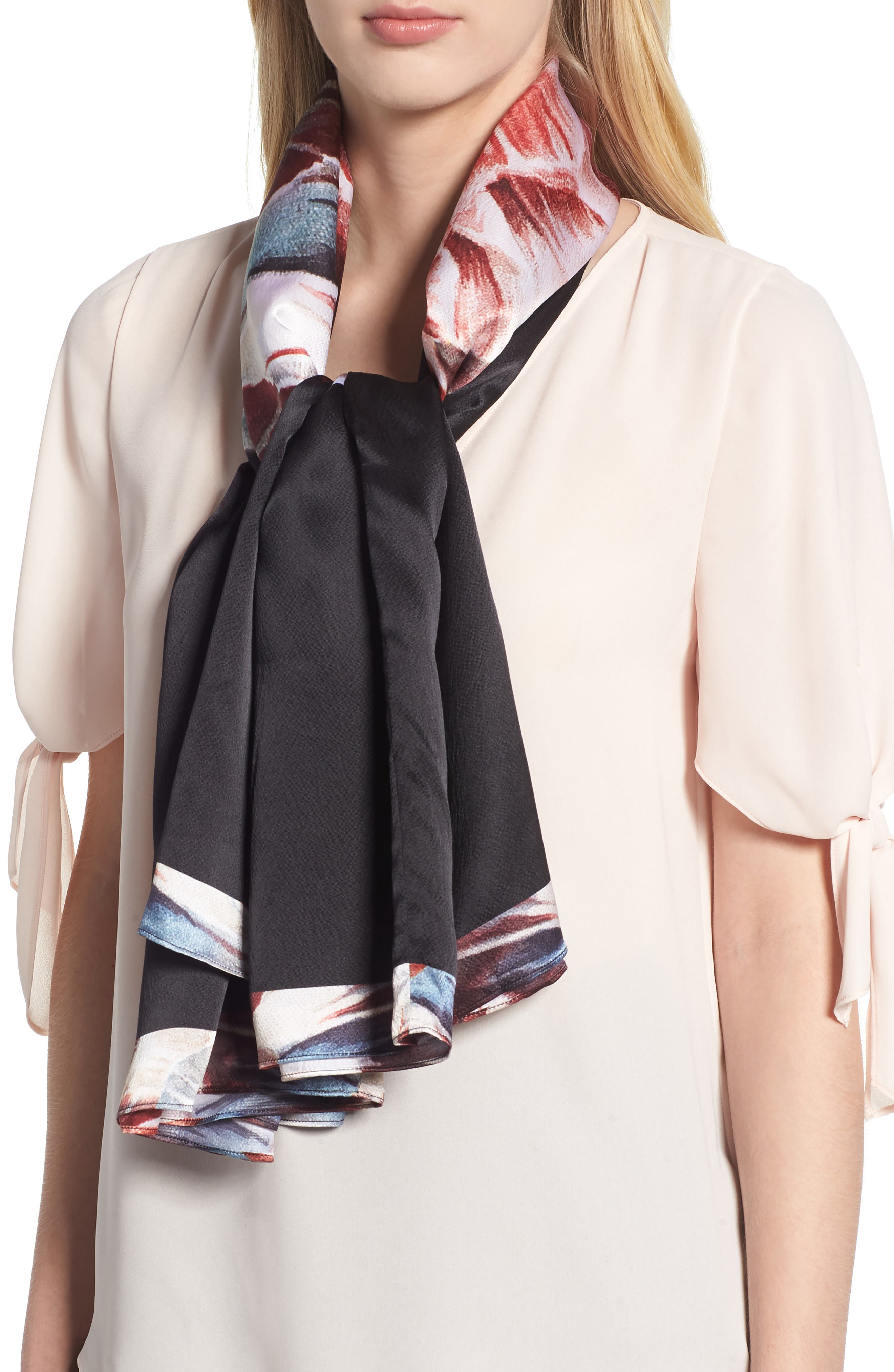 Tranquility Silk Cape Scarf,                             Alternate thumbnail 4, color,                             Black