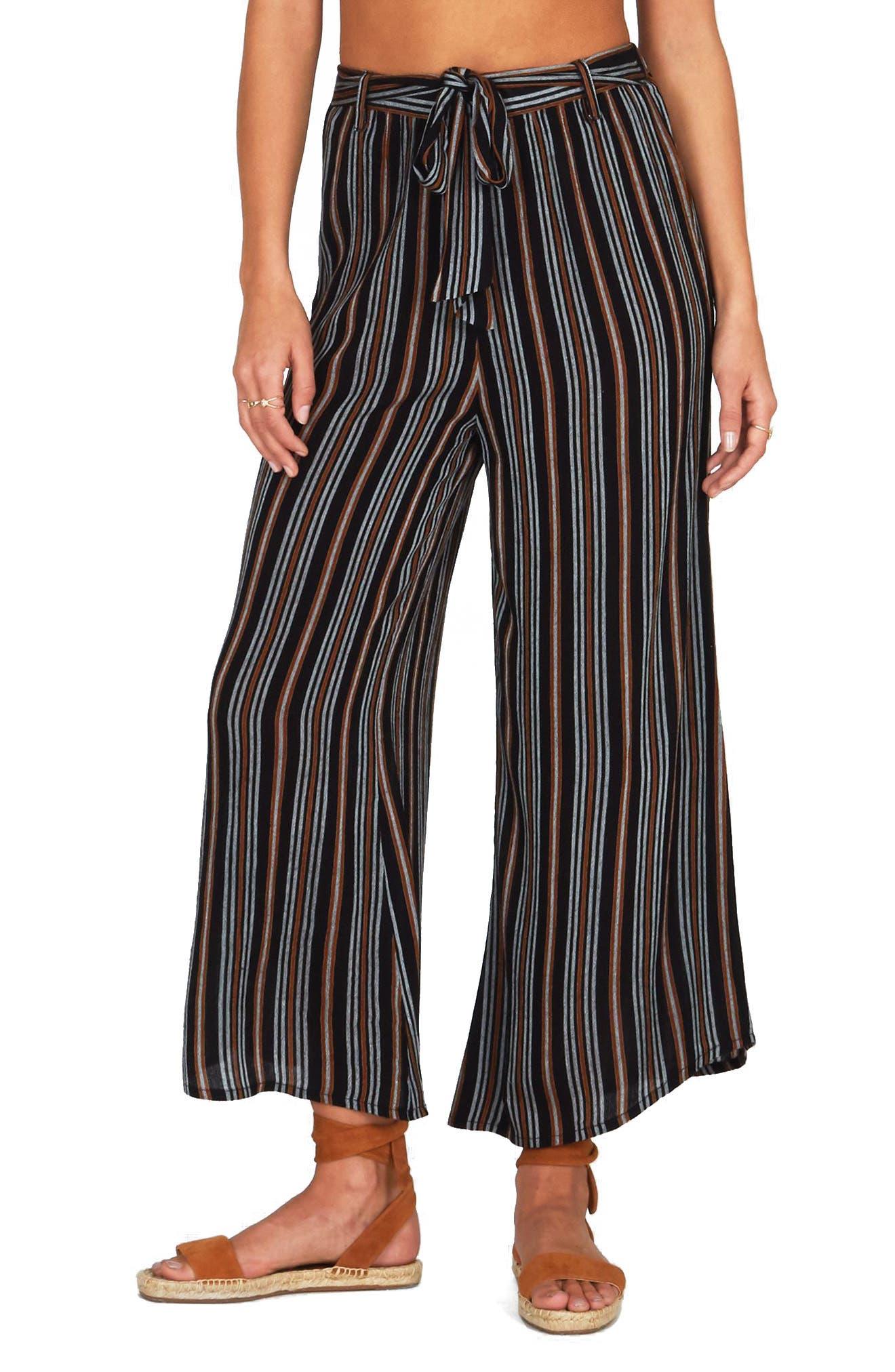 Even Tides Stripe Pants,                             Main thumbnail 1, color,                             Black