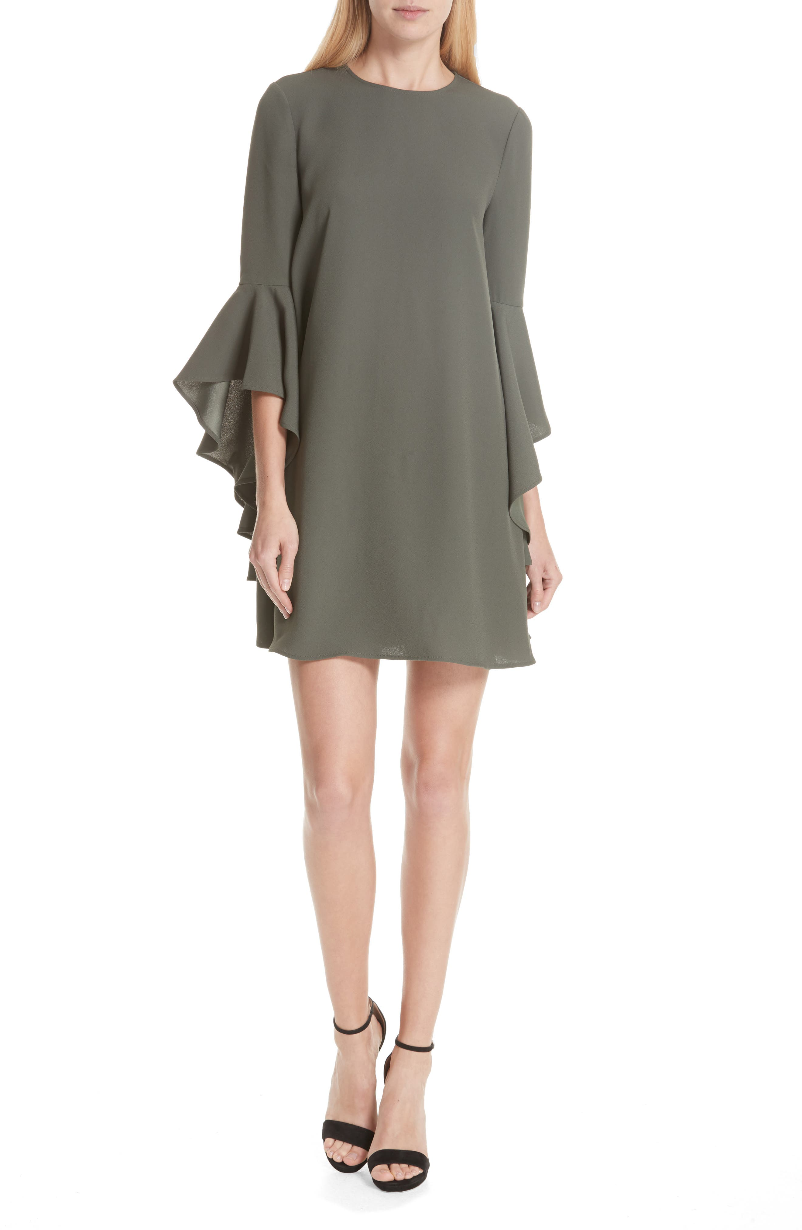 Ashley Waterfall Sleeve A-Line Dress,                         Main,                         color, Dark Green