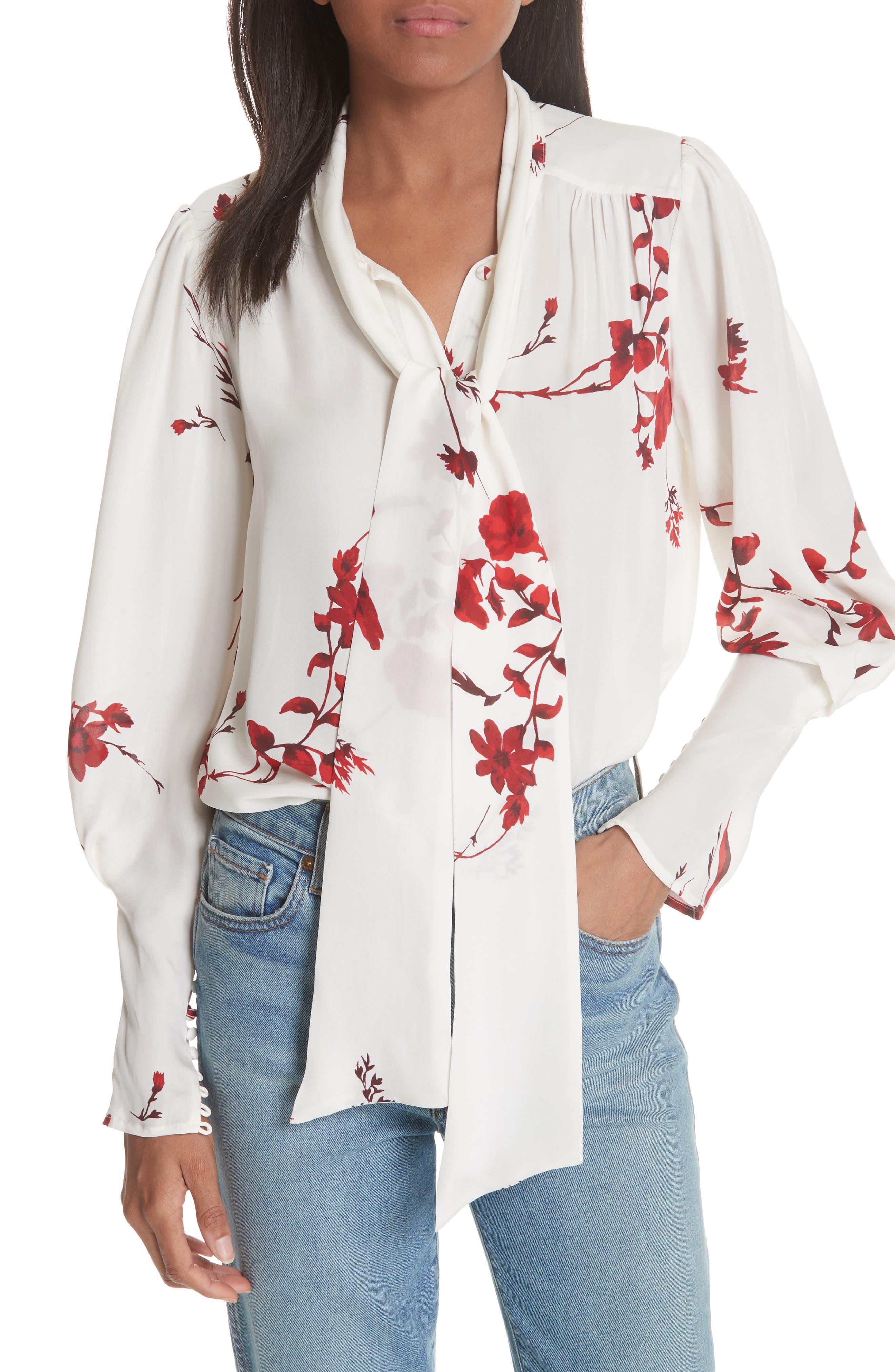 Angeletta Tie Neck Floral Silk Blouse,                             Main thumbnail 1, color,                             Porcelain