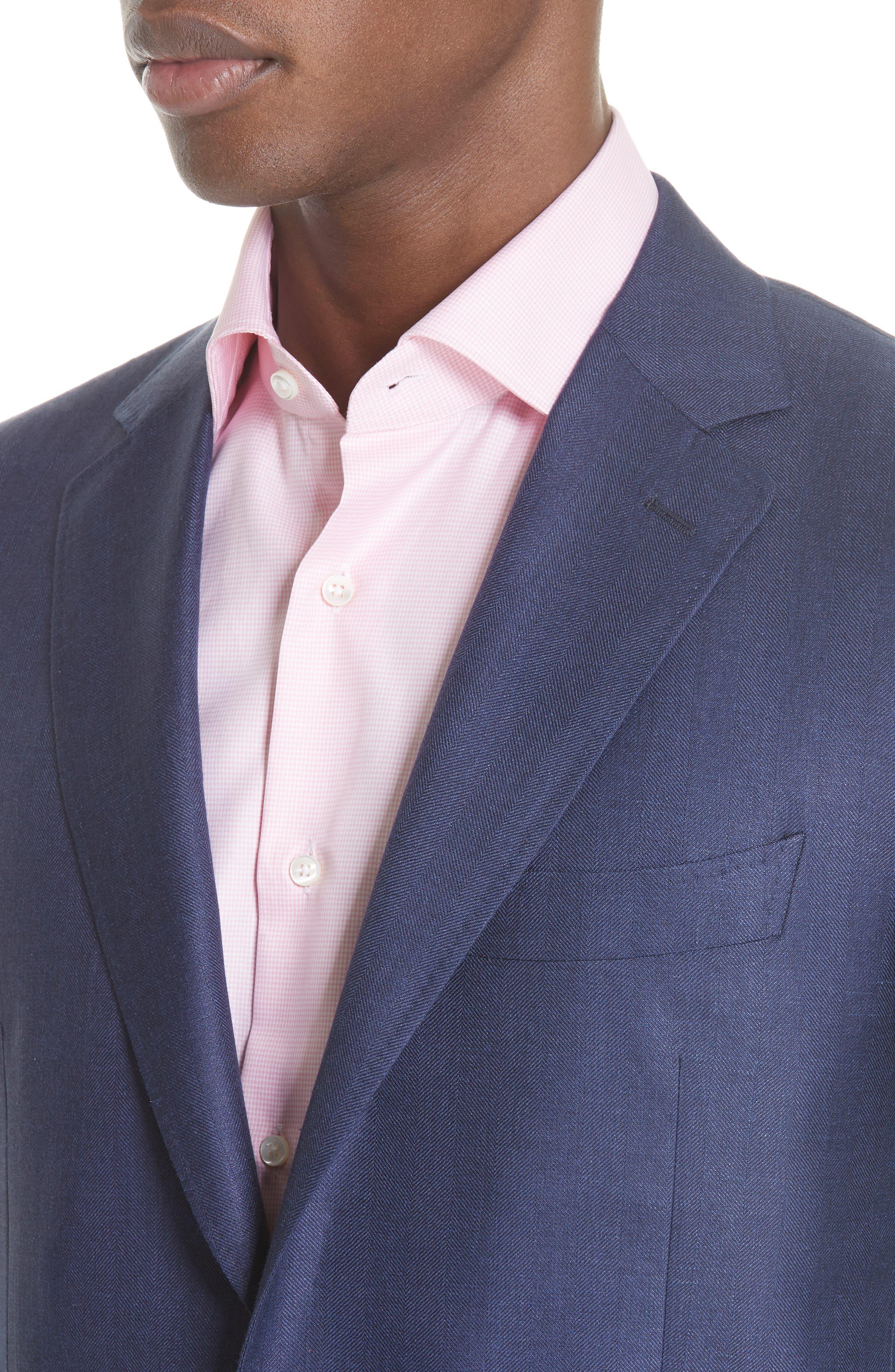 Venezia Classic Fit Herringbone Wool Blend Sport Coat,                             Alternate thumbnail 4, color,                             Blue