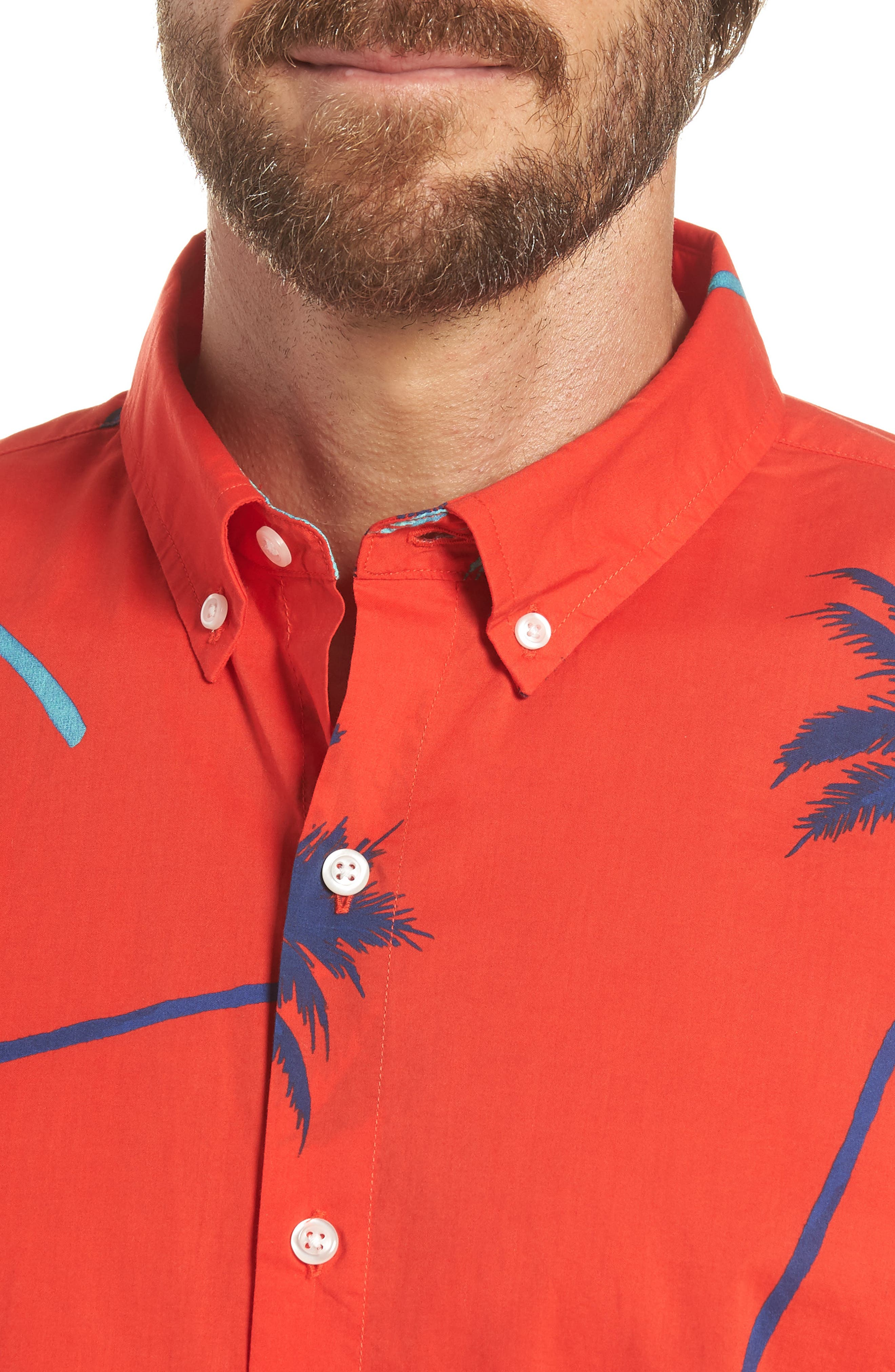Riviera Slim Fit Palm Print Sport Shirt,                             Alternate thumbnail 2, color,                             Palm Tree View - Goji Berry