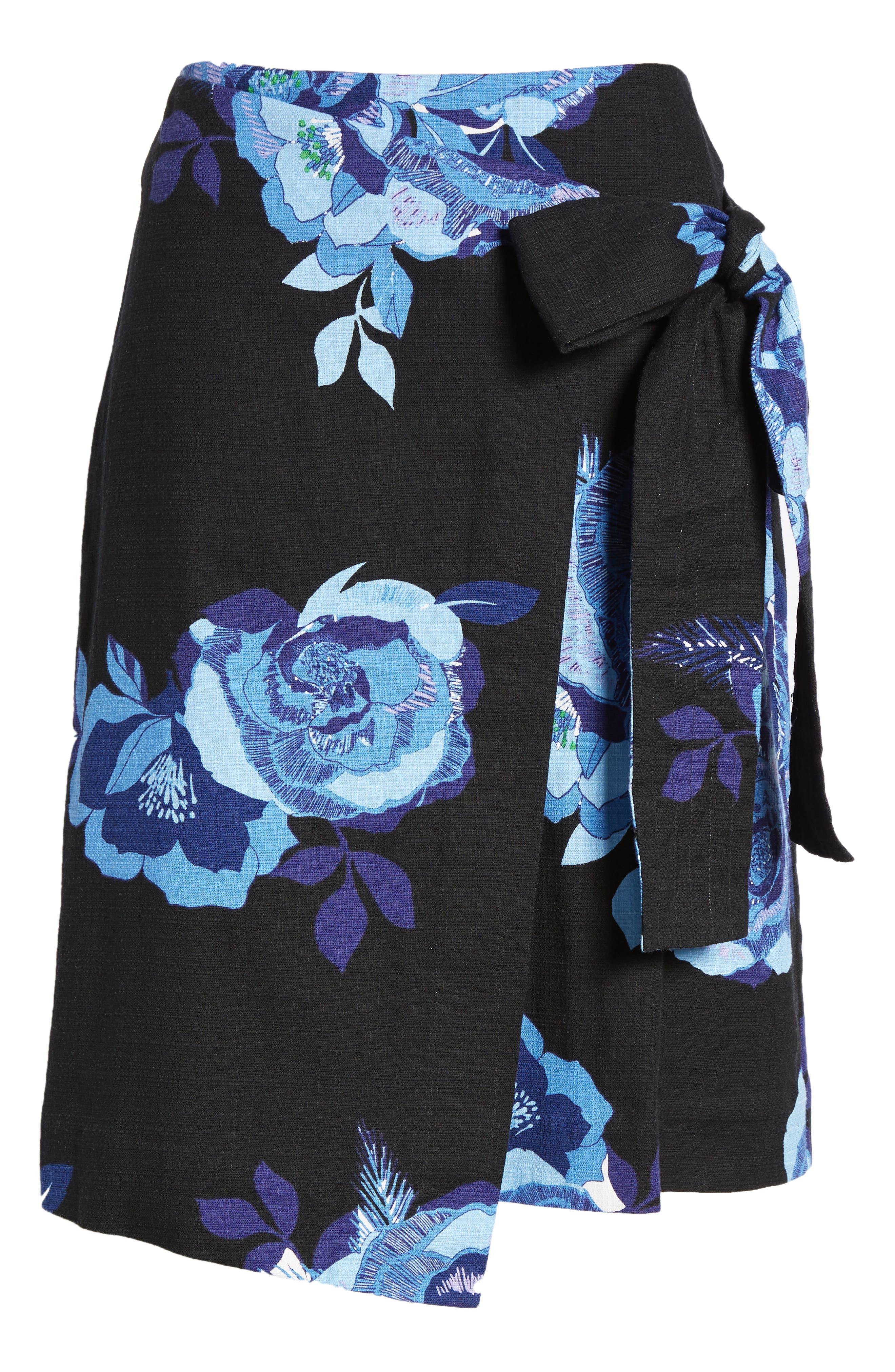 Floral Cotton Blend Wrap Skirt,                             Alternate thumbnail 6, color,                             Black- Blue Rose Print