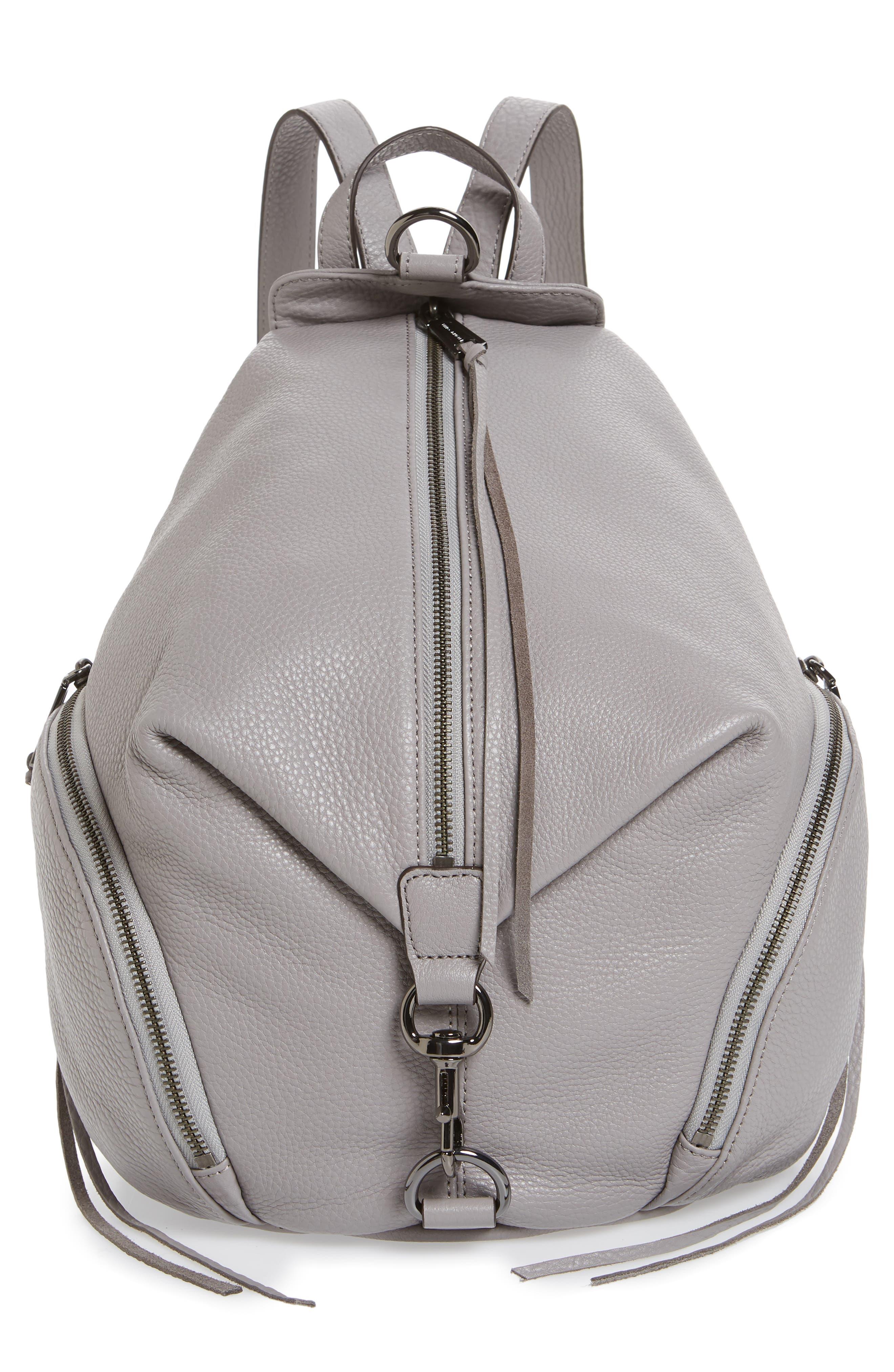 Julian Pebbled Leather Backpack,                             Main thumbnail 1, color,                             Grey