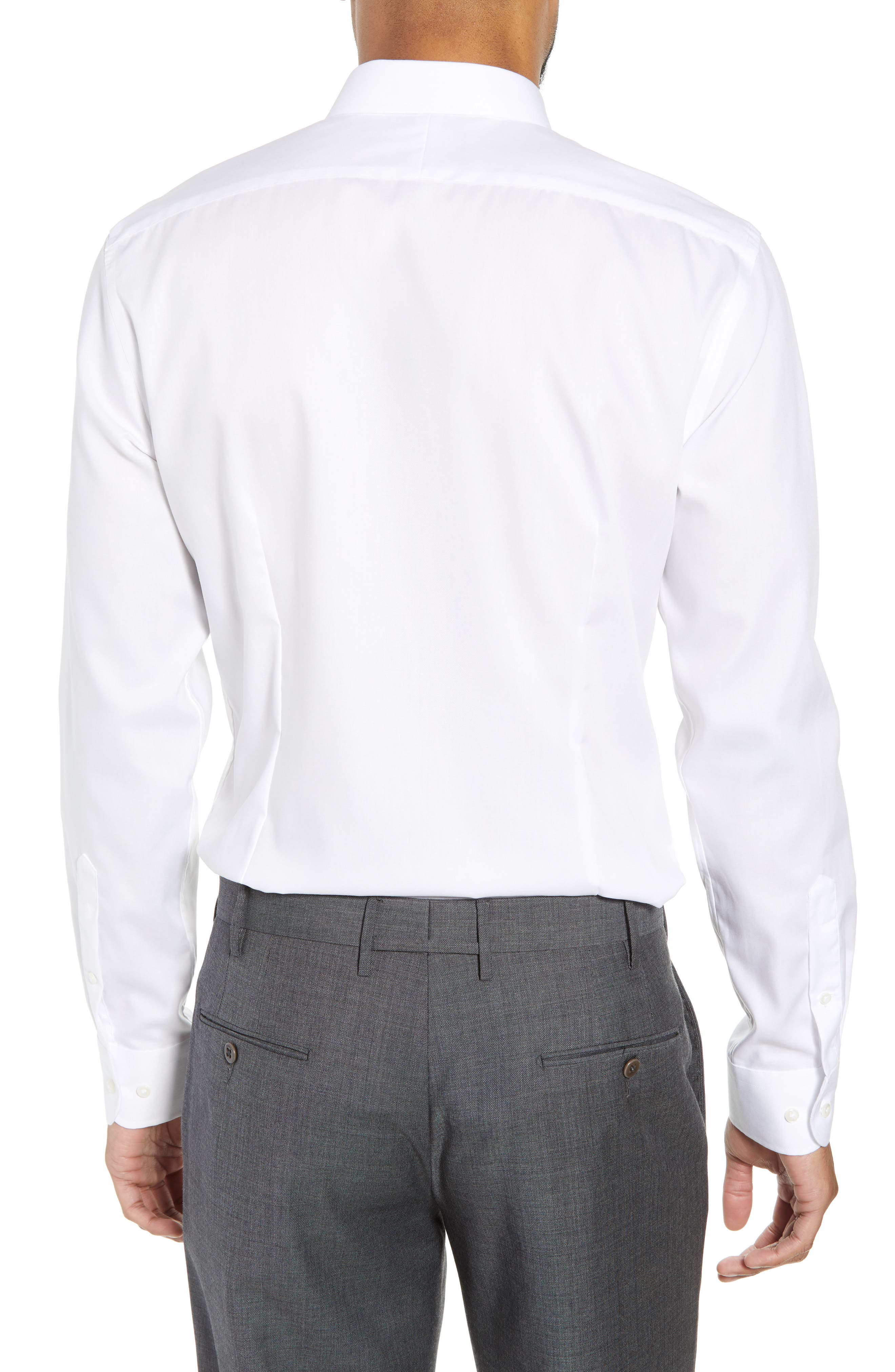Extra Trim Fit Non-Iron Solid Dress Shirt,                             Alternate thumbnail 3, color,                             White