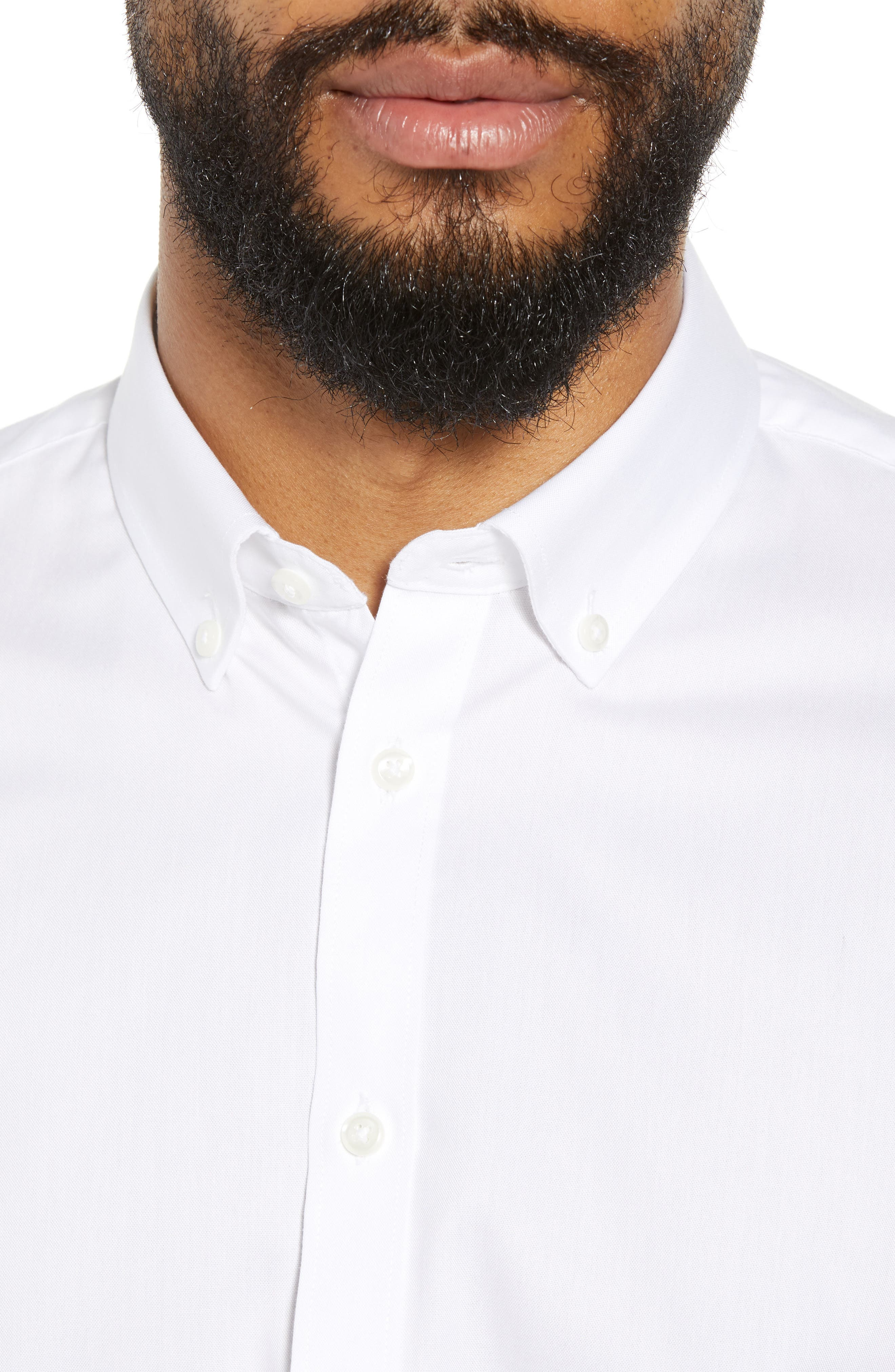 Extra Trim Fit Non-Iron Solid Dress Shirt,                             Alternate thumbnail 2, color,                             White