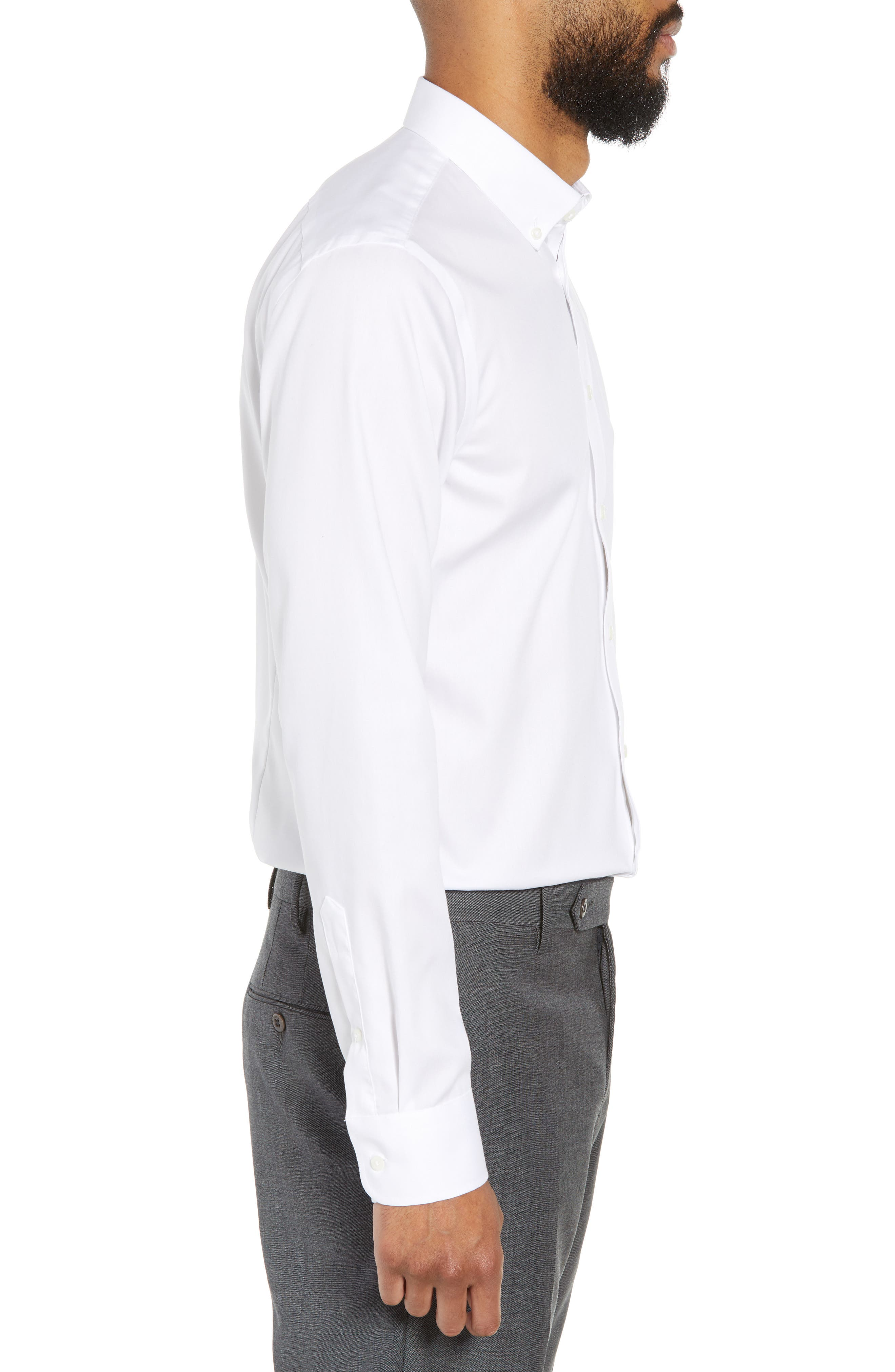 Extra Trim Fit Non-Iron Solid Dress Shirt,                             Alternate thumbnail 4, color,                             White