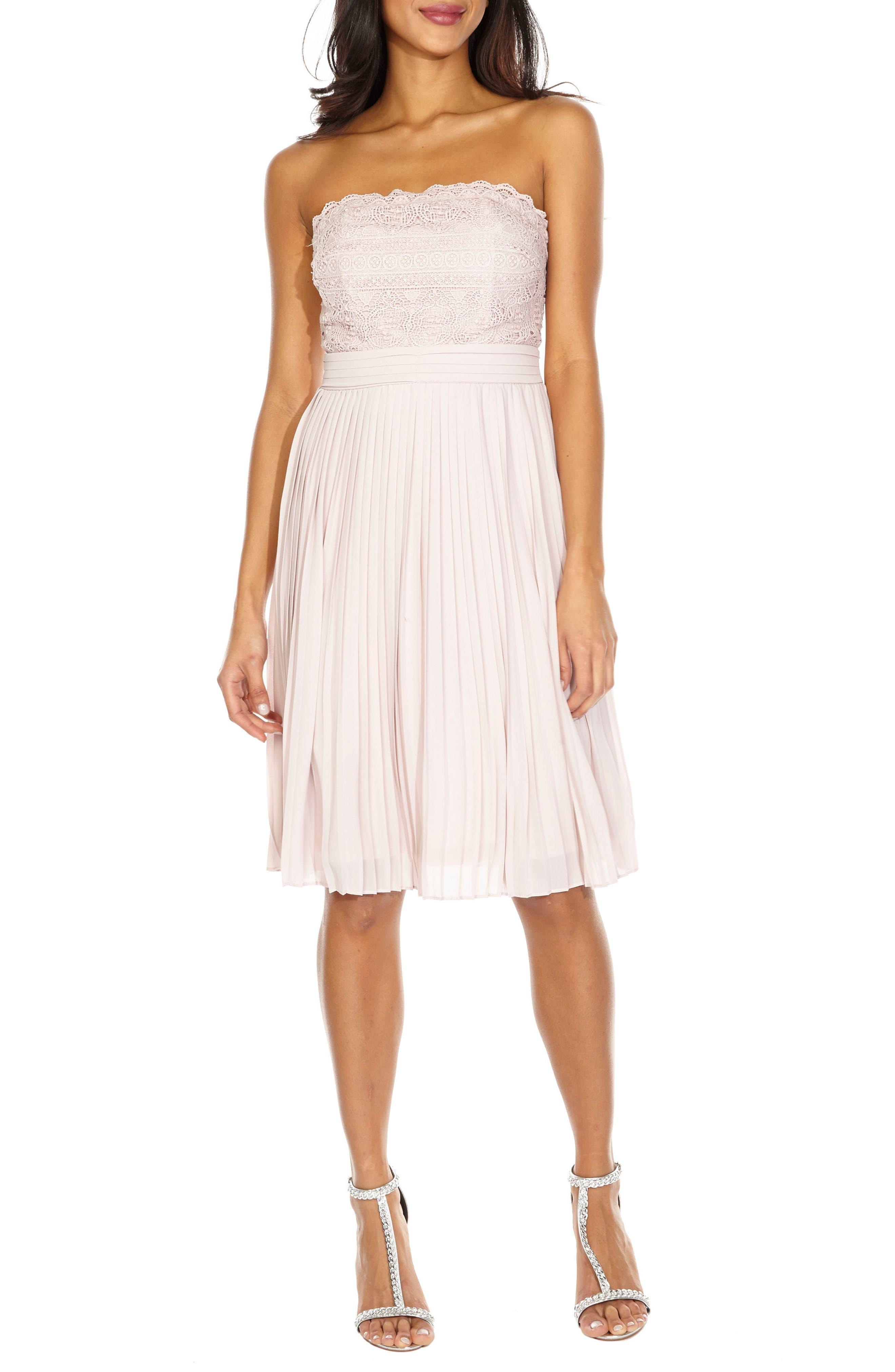 Kara Pleated Strapless Dress,                         Main,                         color, Mink