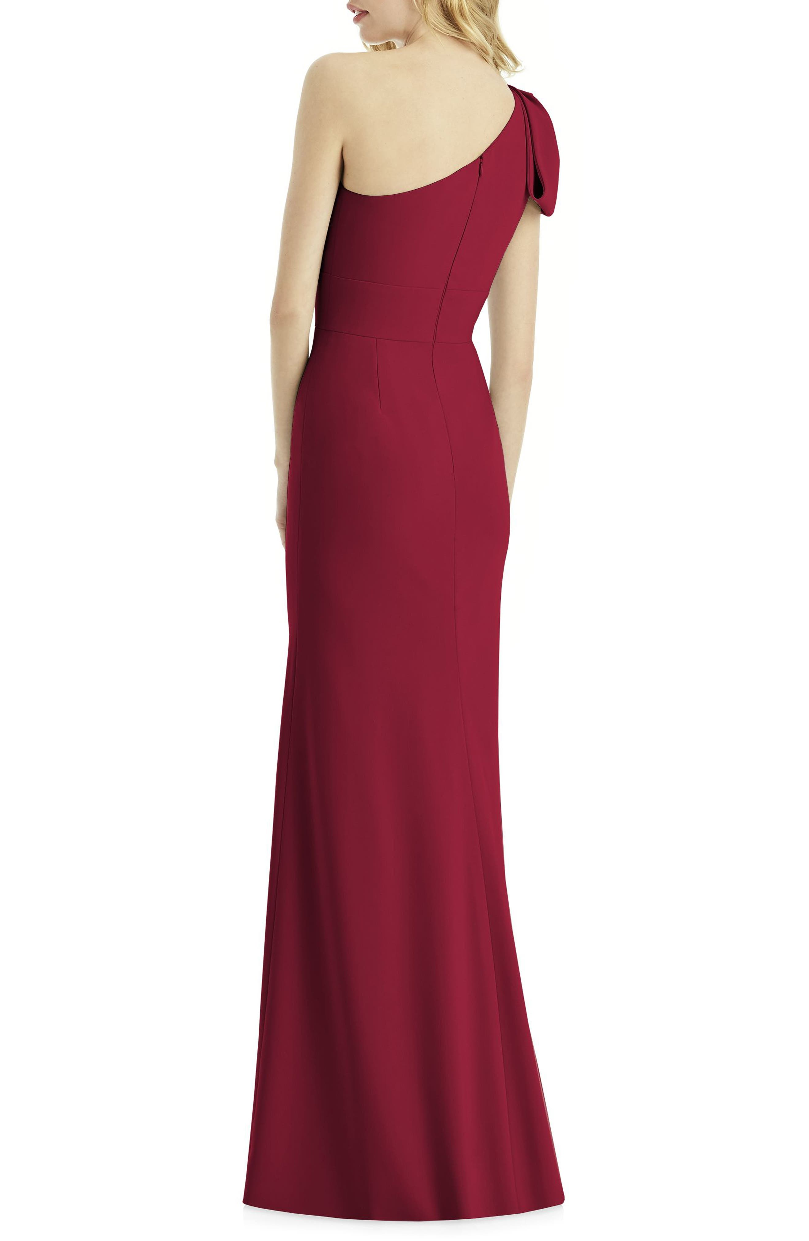 Bow One-Shoulder Gown,                             Alternate thumbnail 2, color,                             Burgundy