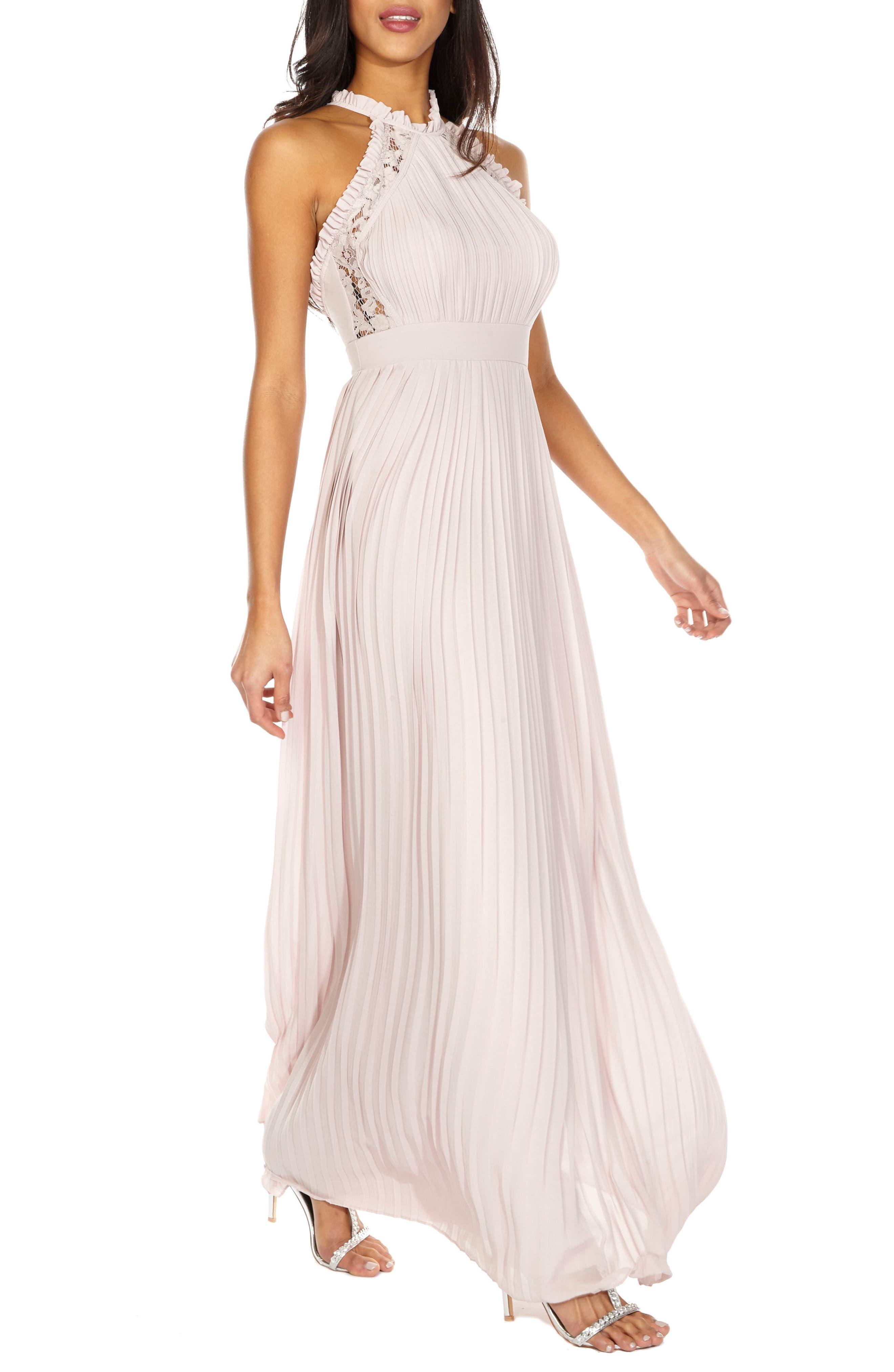 Dousha Pleated Halter Gown,                         Main,                         color, Mink