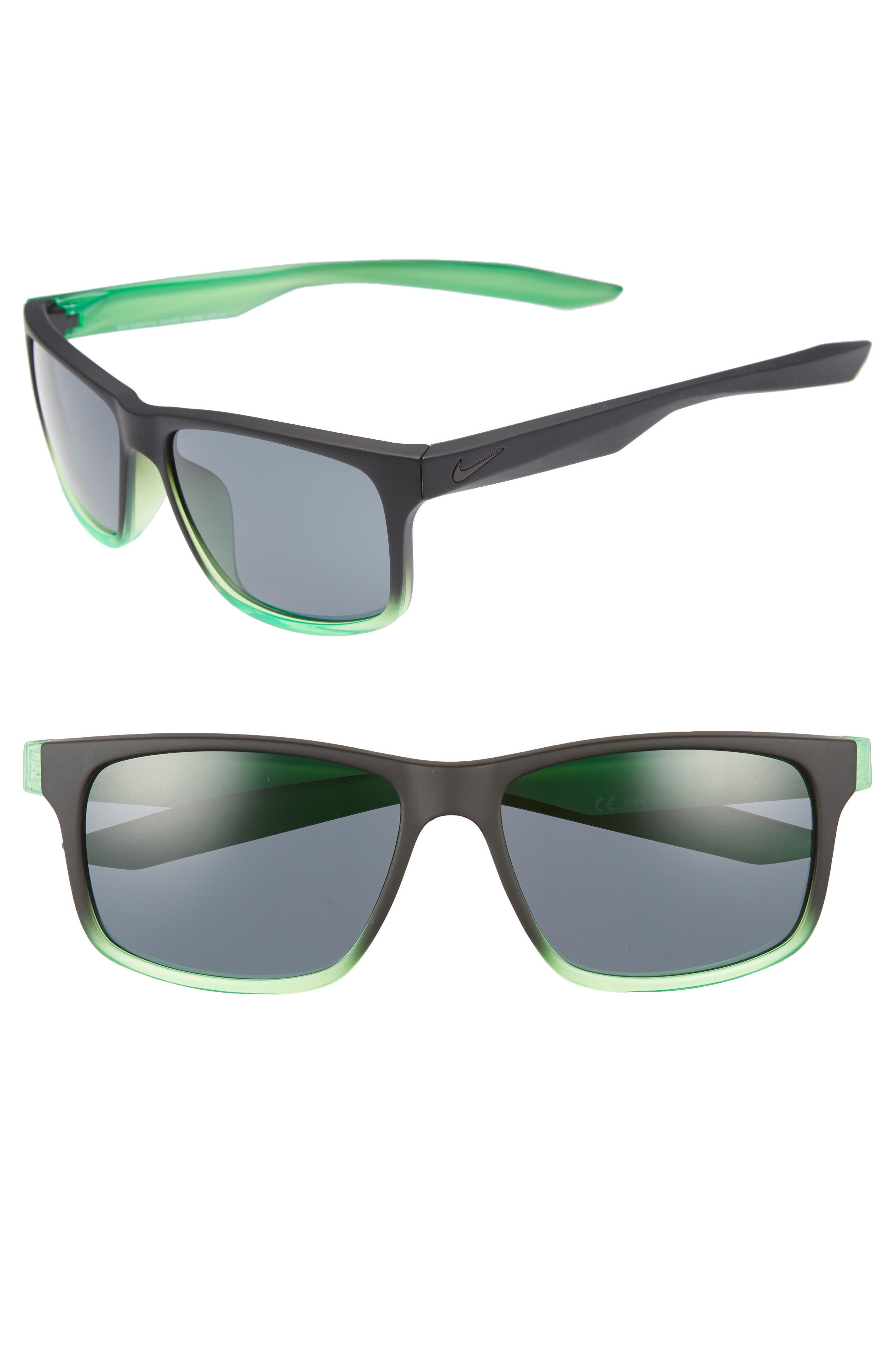 Essential Chaser 56mm Sunglasses,                             Main thumbnail 1, color,                             Matte Black Green/ Dark Grey