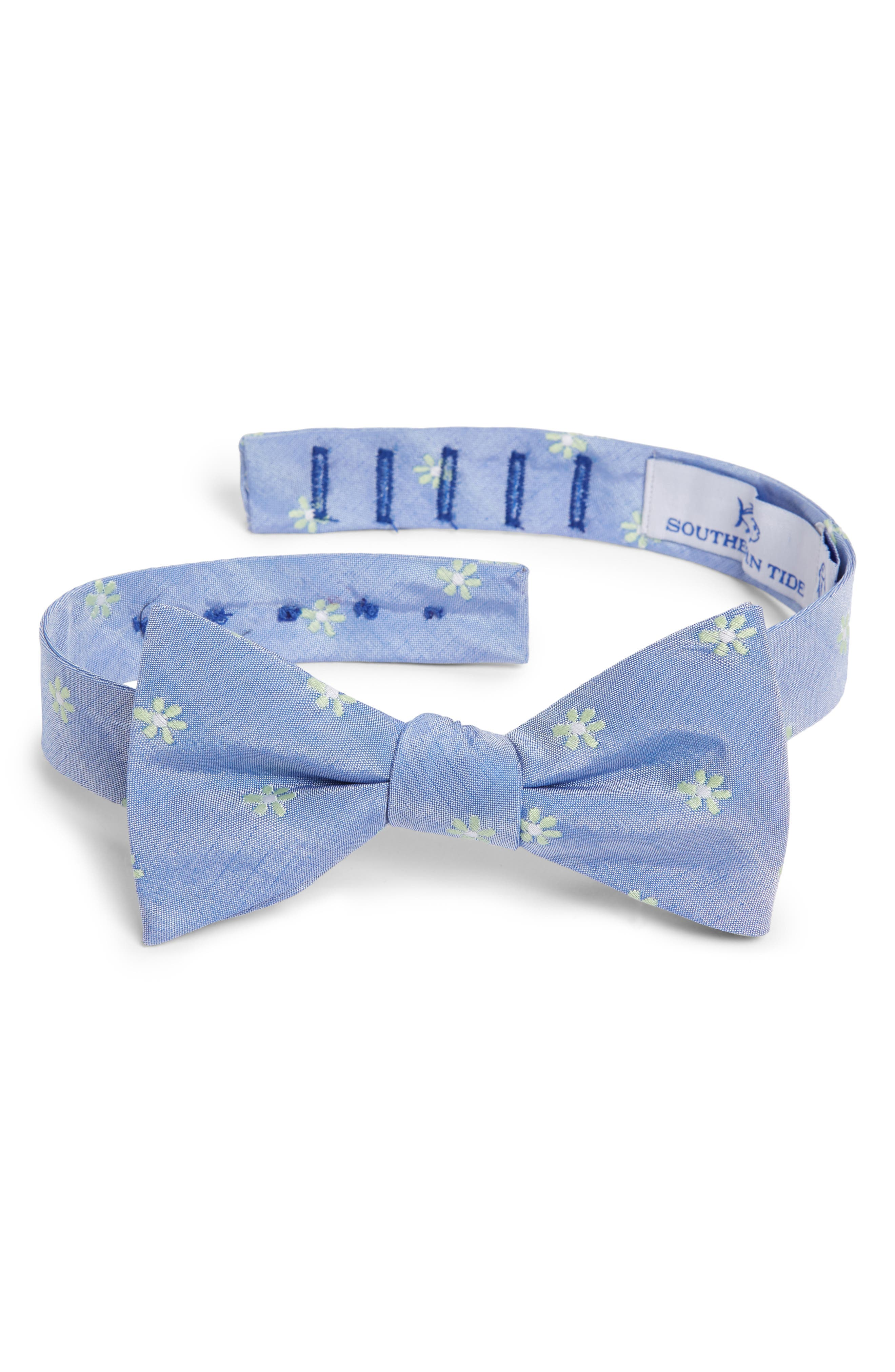 Cumberland Floral Cotton & Silk Bow Tie,                         Main,                         color, Green/ Blue