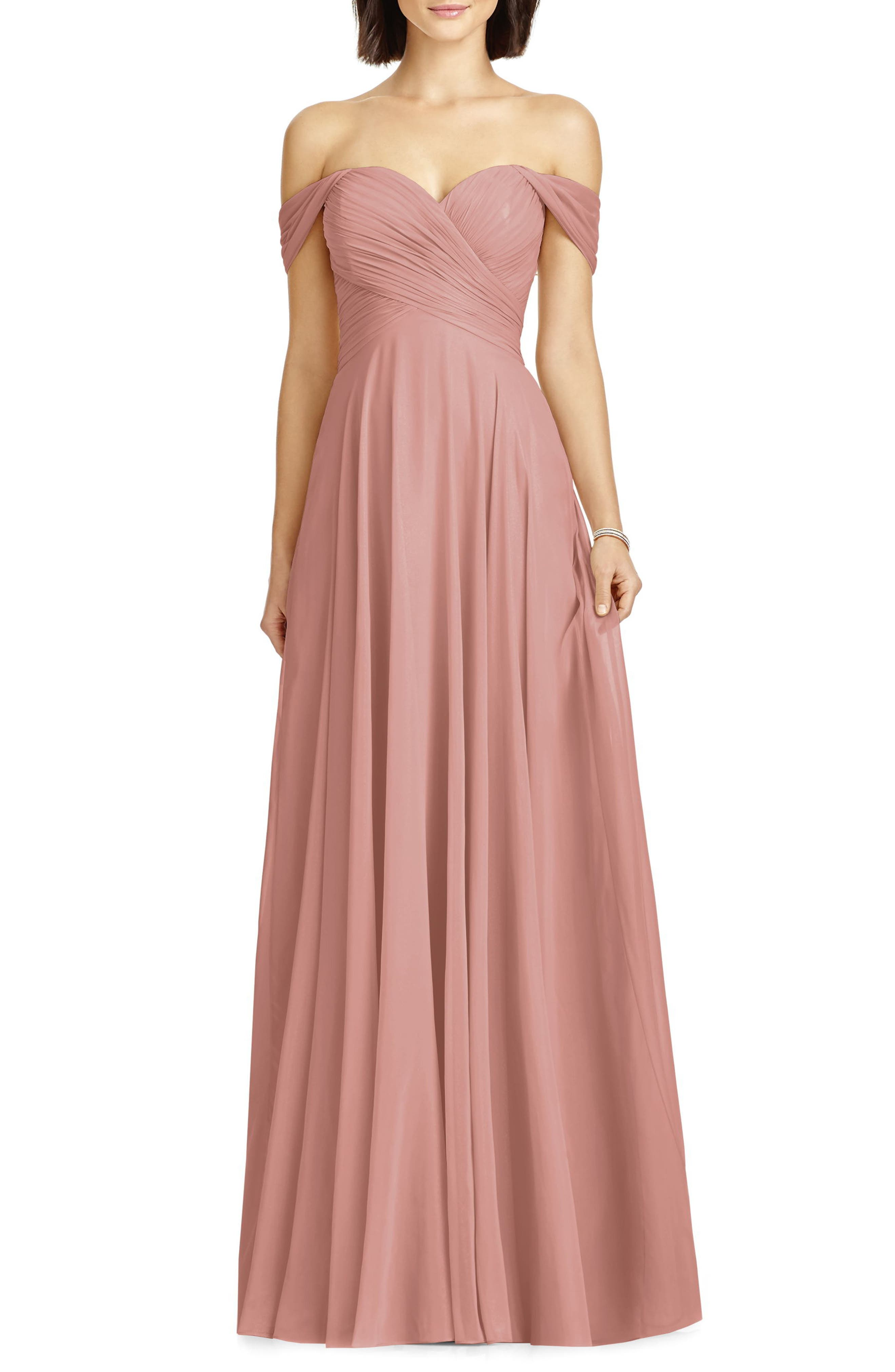 Lux Off the Shoulder Chiffon Gown,                         Main,                         color, Desert Rose