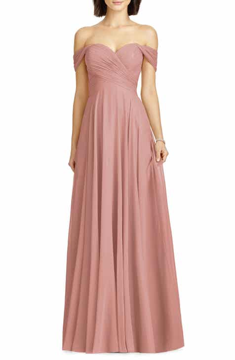 ee68fcfeee511 Dessy Collection Lux Ruched Off the Shoulder Chiffon Gown (Regular & Plus  Size)