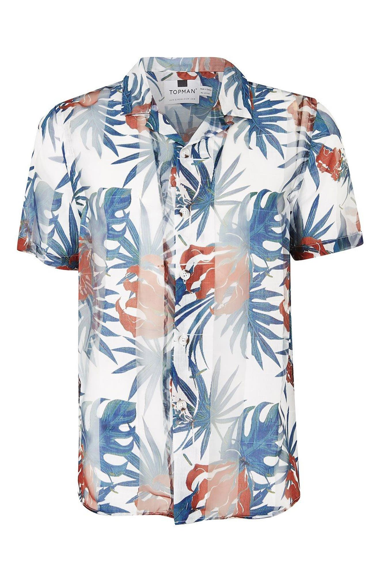 Palm Print Shirt,                             Alternate thumbnail 4, color,                             White Multi