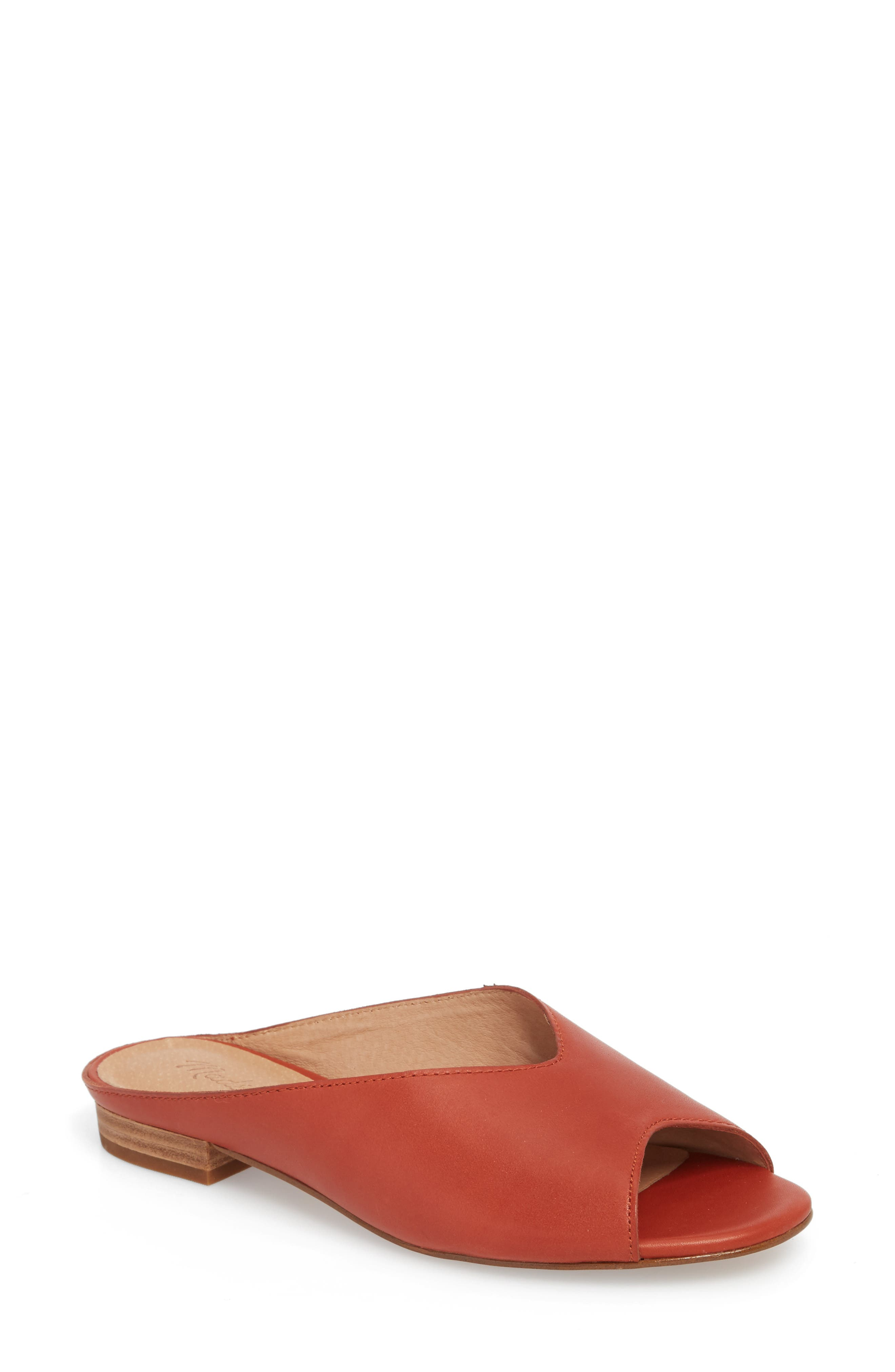 Tavi Slide Sandal,                         Main,                         color, Dark Cinnabar Leather