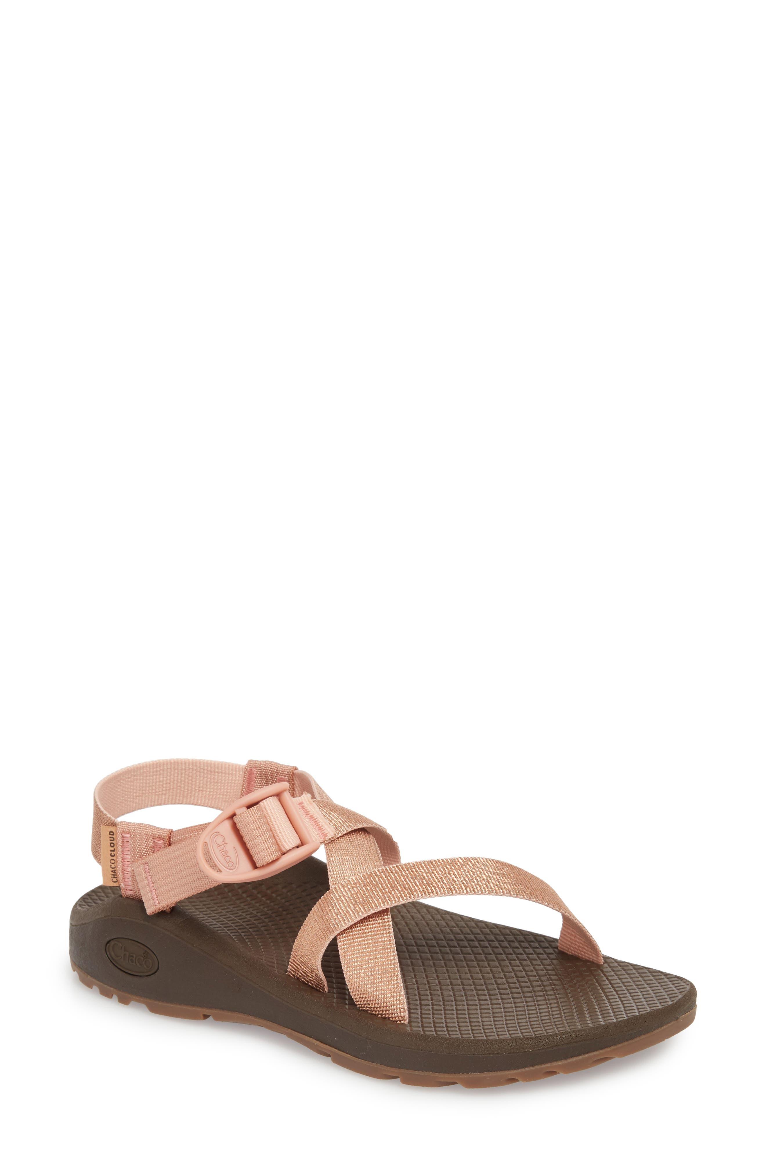 Z/Cloud Sandal,                             Main thumbnail 1, color,                             Metallic Rose Leather
