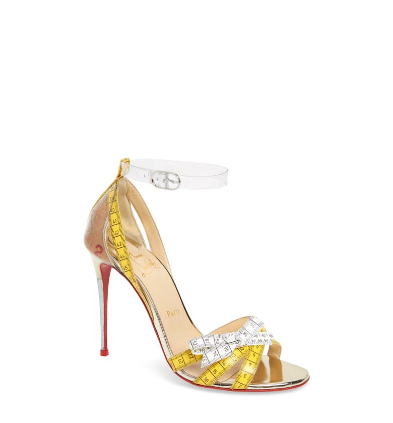 7e1bfed5d29f Christian Louboutin Metri Clear Ankle Strap Sandal In Gold