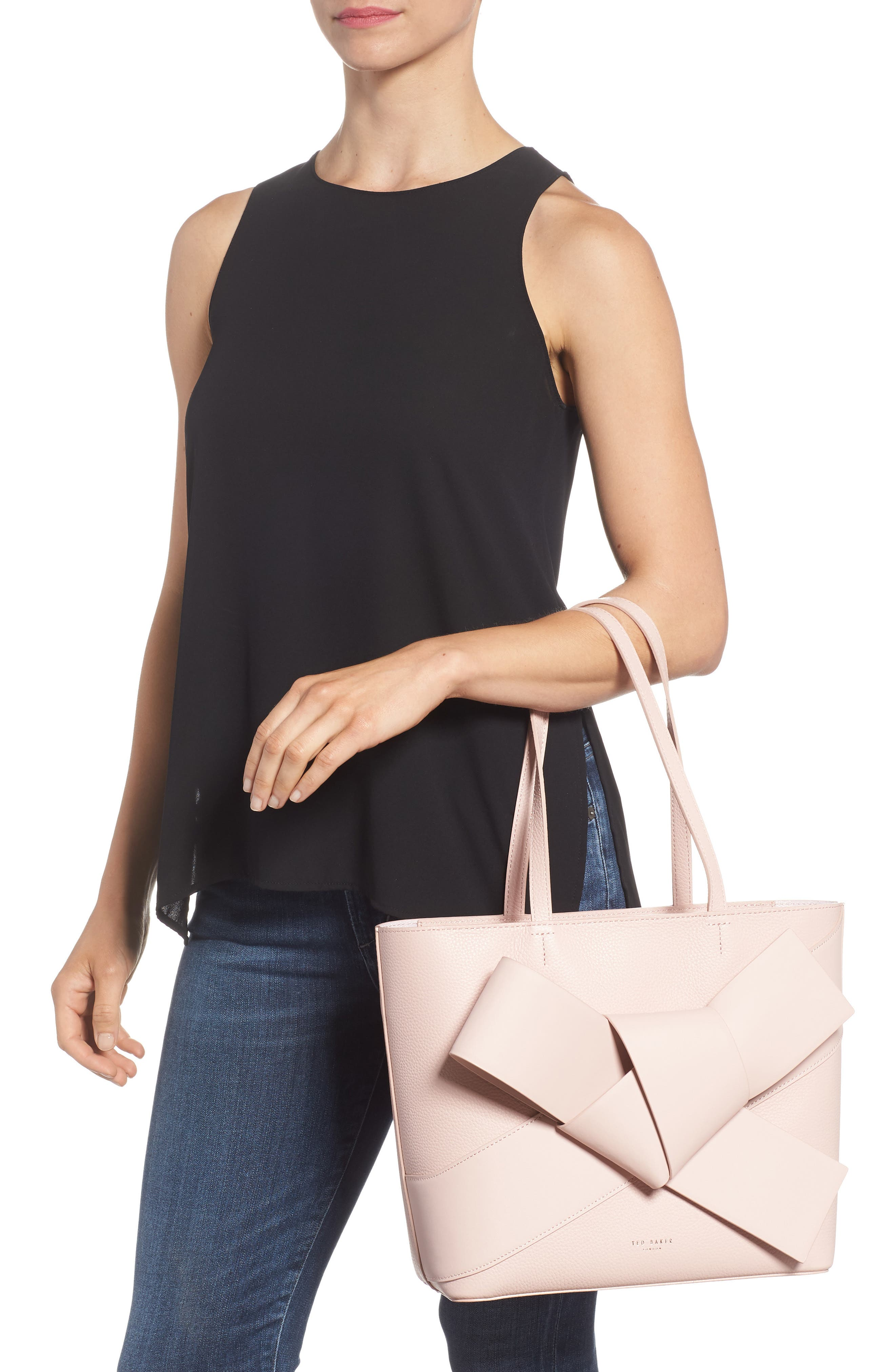 Giant Knot Leather Shopper,                             Alternate thumbnail 2, color,                             Nude Pink