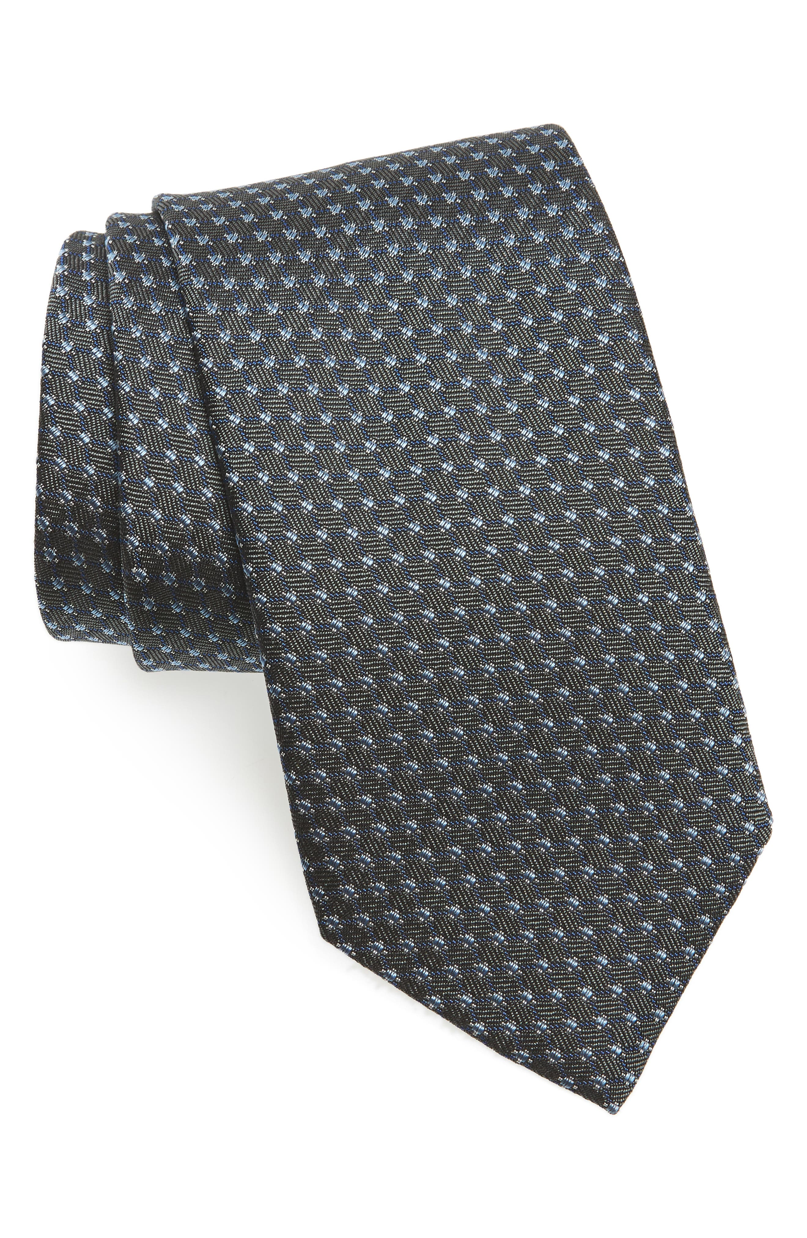 Neat Silk Tie,                         Main,                         color, Charcoal
